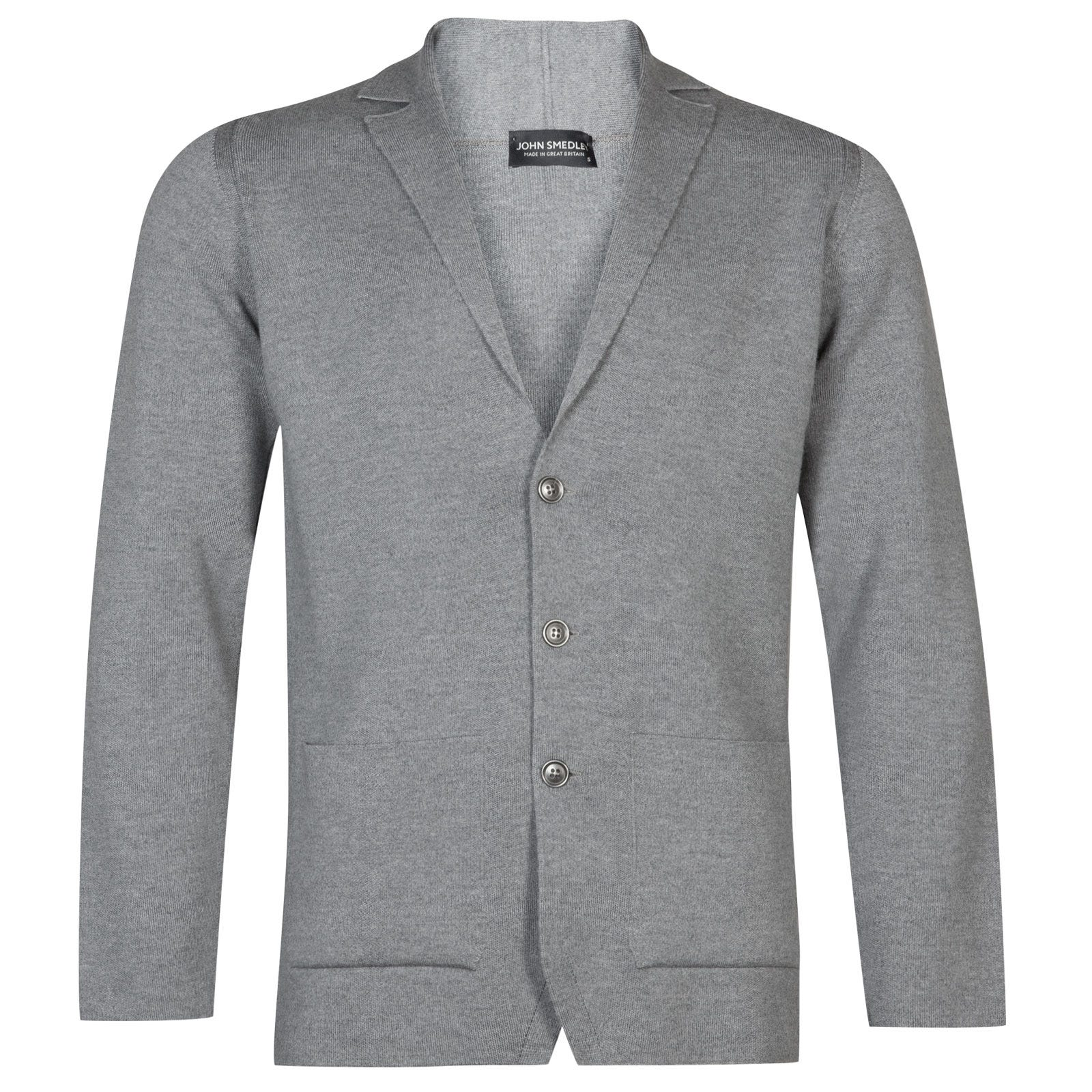 John Smedley Oxland Merino Wool Jacket in Silver-M