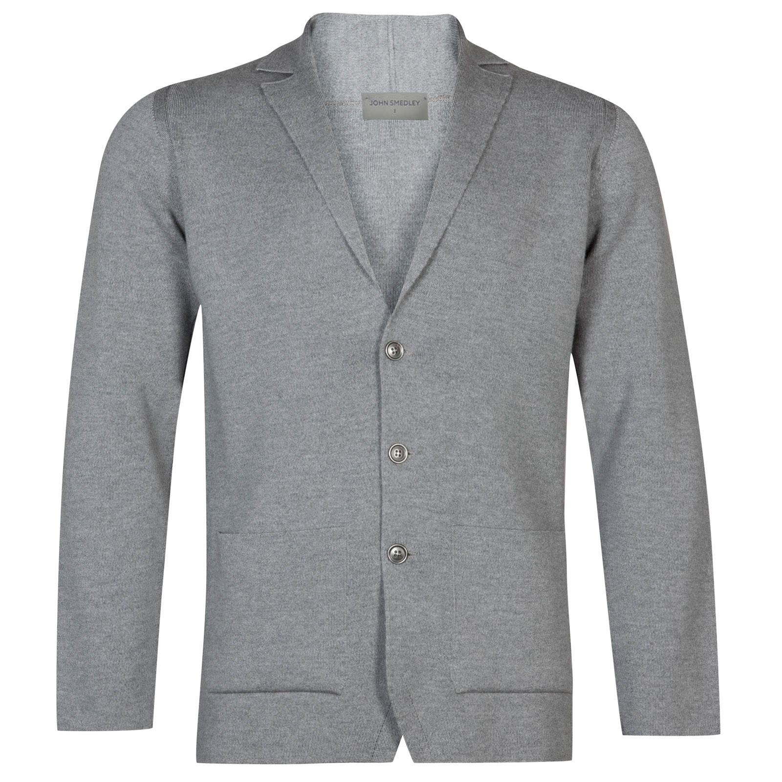 John Smedley Oxland Merino Wool Jacket in Silver-S