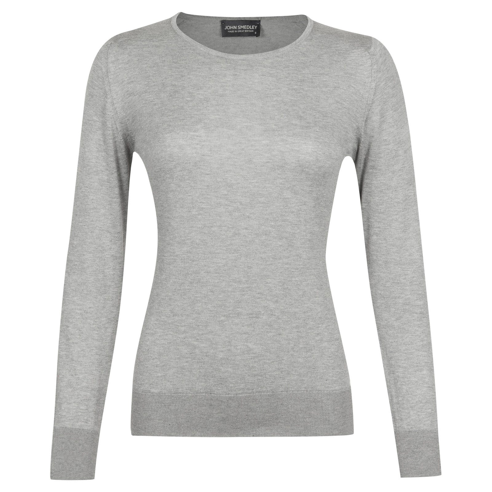John Smedley paddington Sea Island Cotton Sweater in Silver-XL