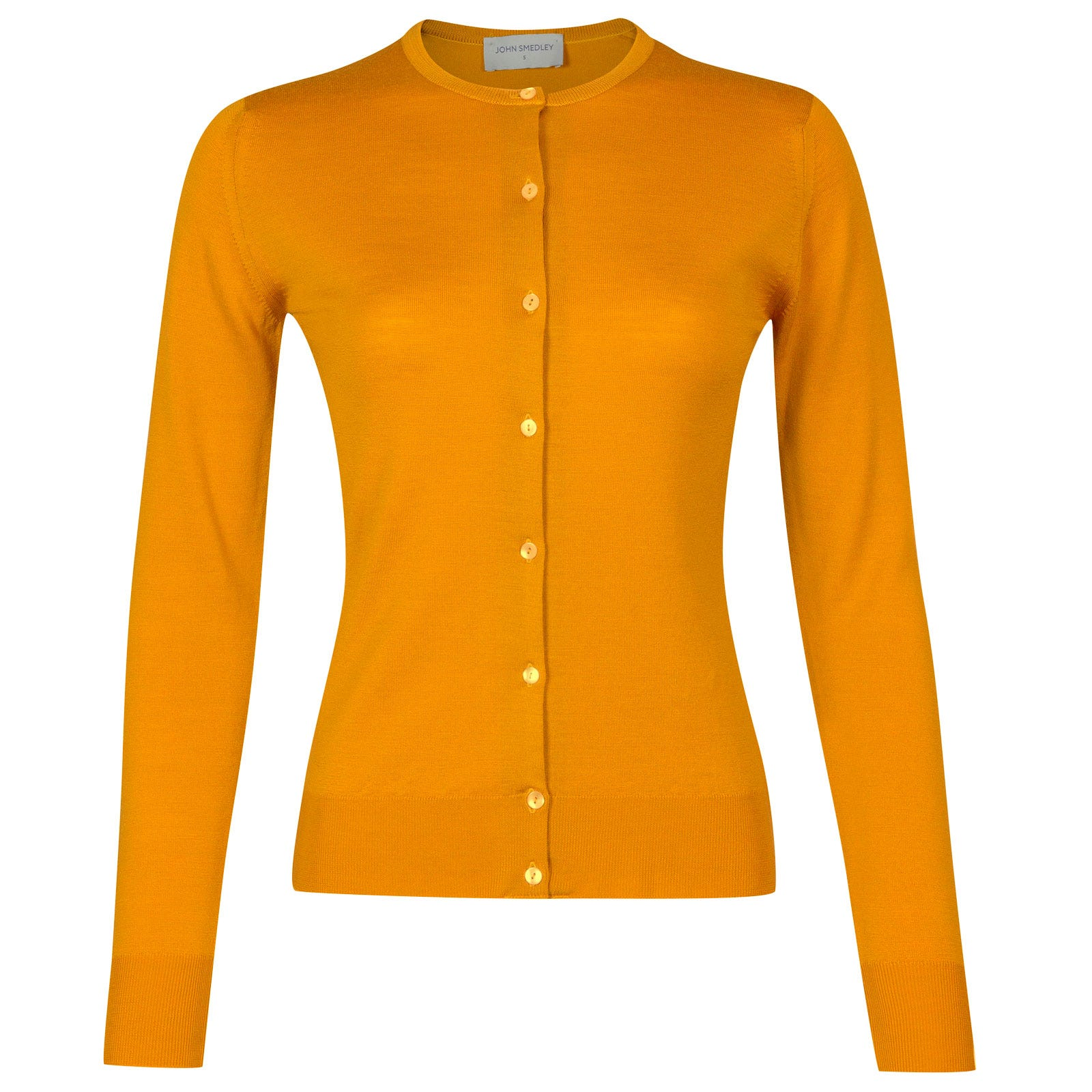 John Smedley pansy Merino Wool Cardigan in Buckthorn Orange-L