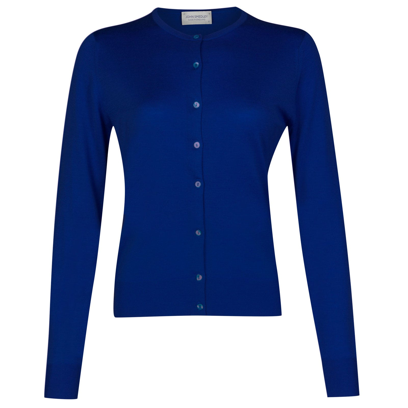 John Smedley pansy Merino Wool Cardigan in Coniston Blue-XL