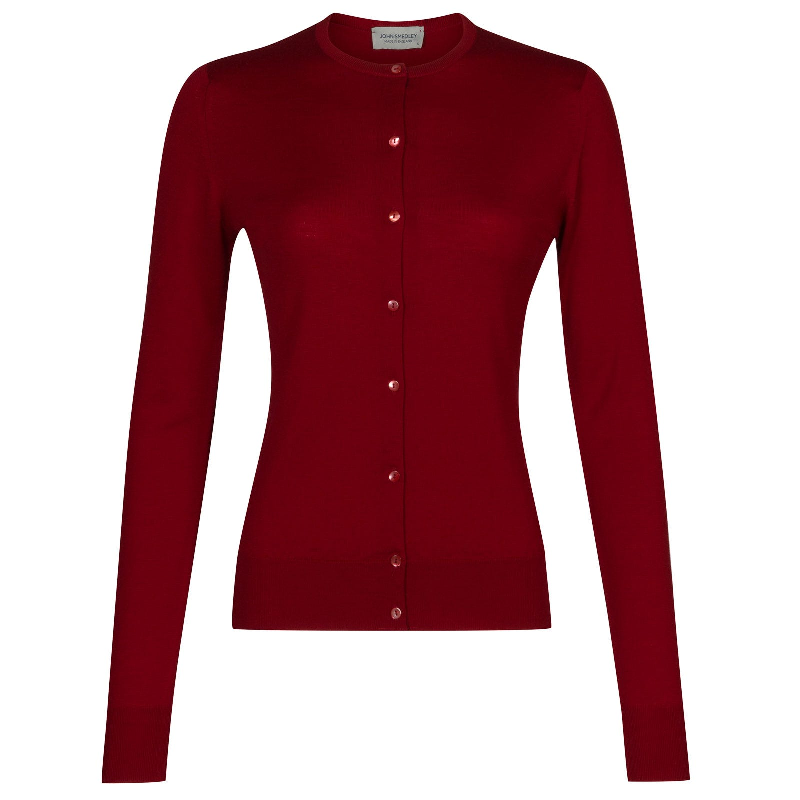 John Smedley pansy Merino Wool Cardigan in Crimson Forest-M