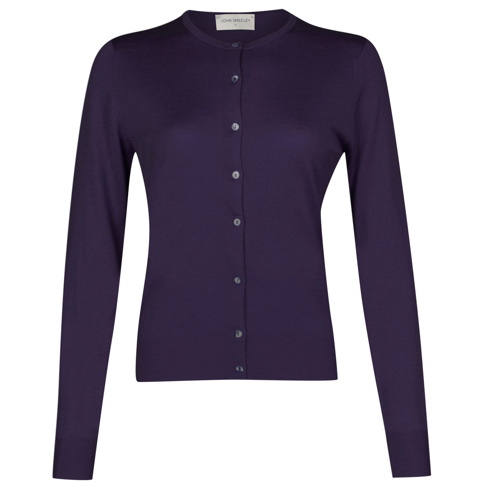 John Smedley pansy Merino Wool Cardigan in Elderberry Purple-M