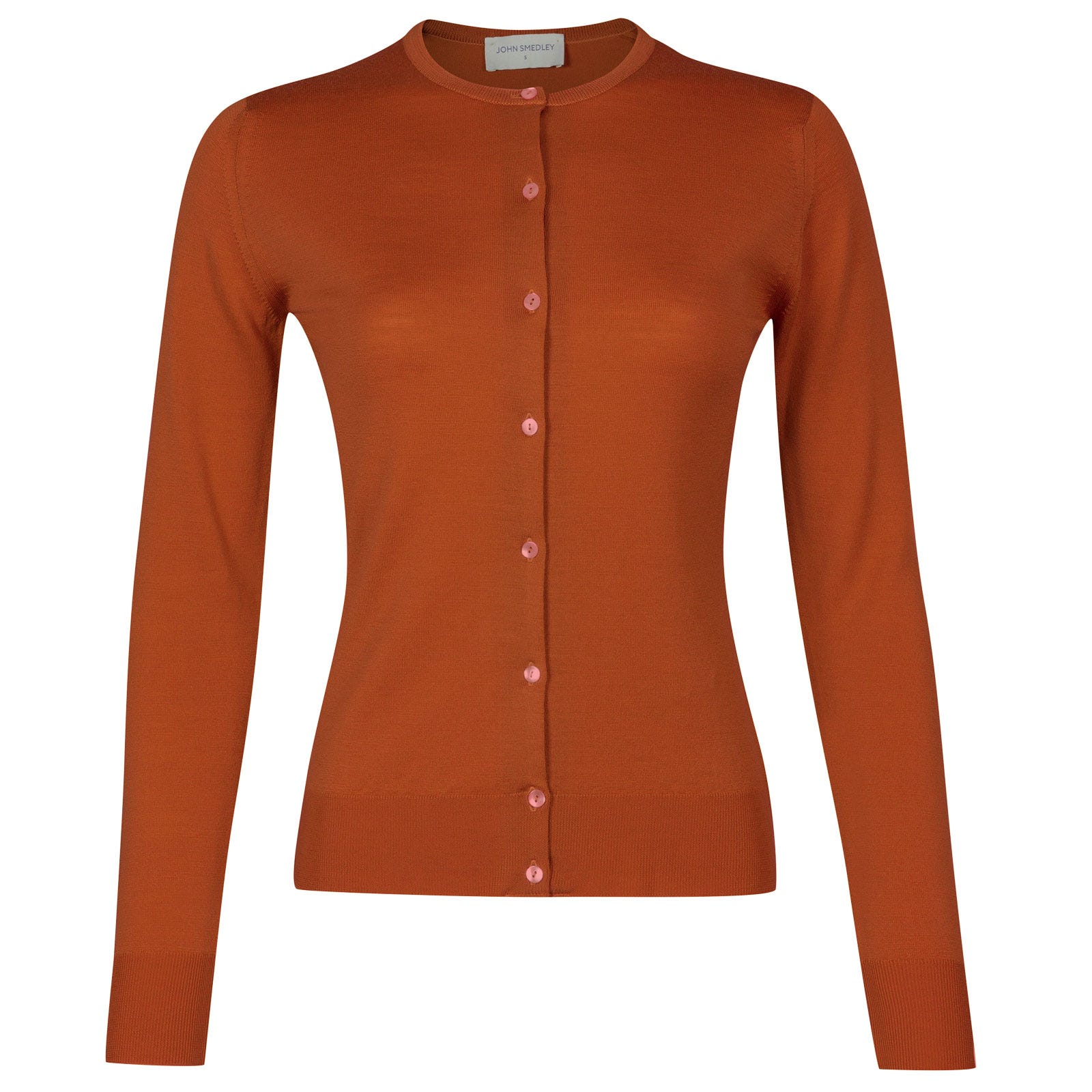 John Smedley pansy Merino Wool Cardigan in Flare Orange-S