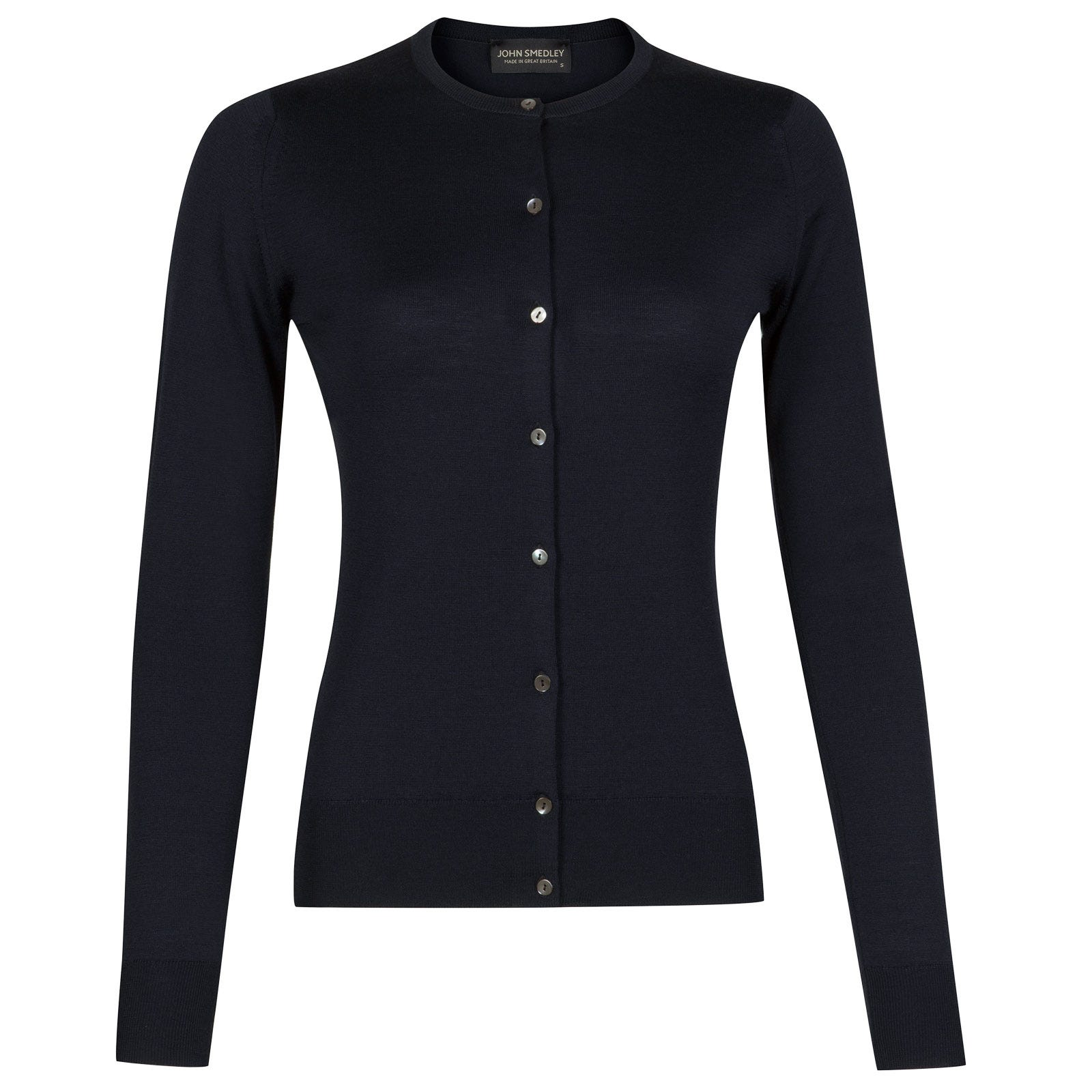John Smedley pansy Merino Wool Cardigan in Midnight-XL