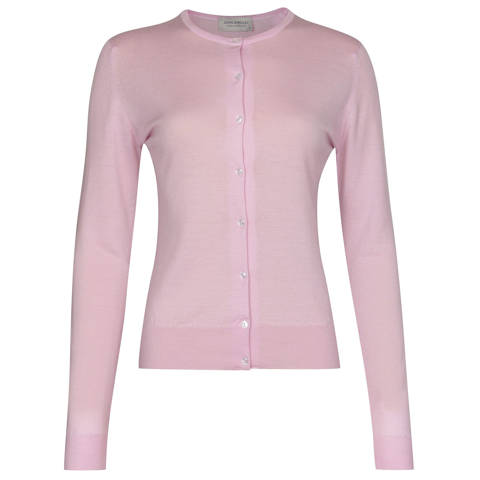 John Smedley Pansy in Pink Blossom Cardigan-LGE