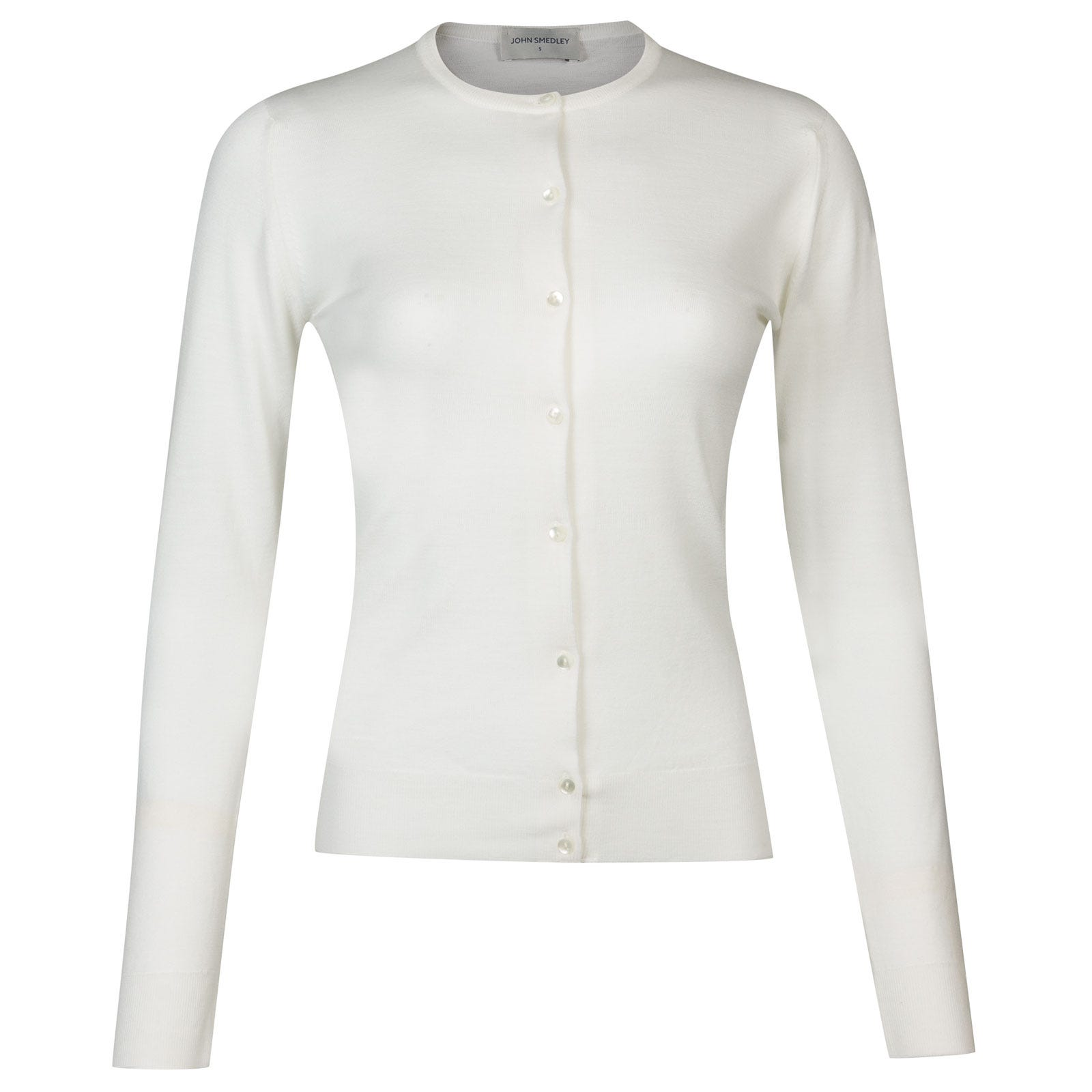 John Smedley Pansy Merino Wool Cardigan in Snow White-XL