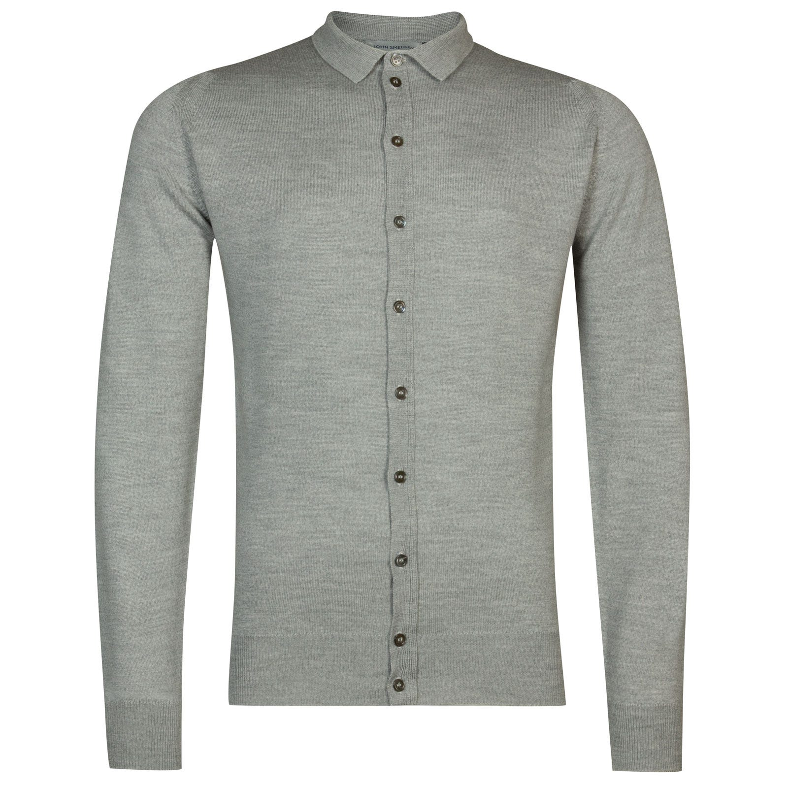John Smedley parwish Merino Wool Shirt in Bardot Grey-XXL