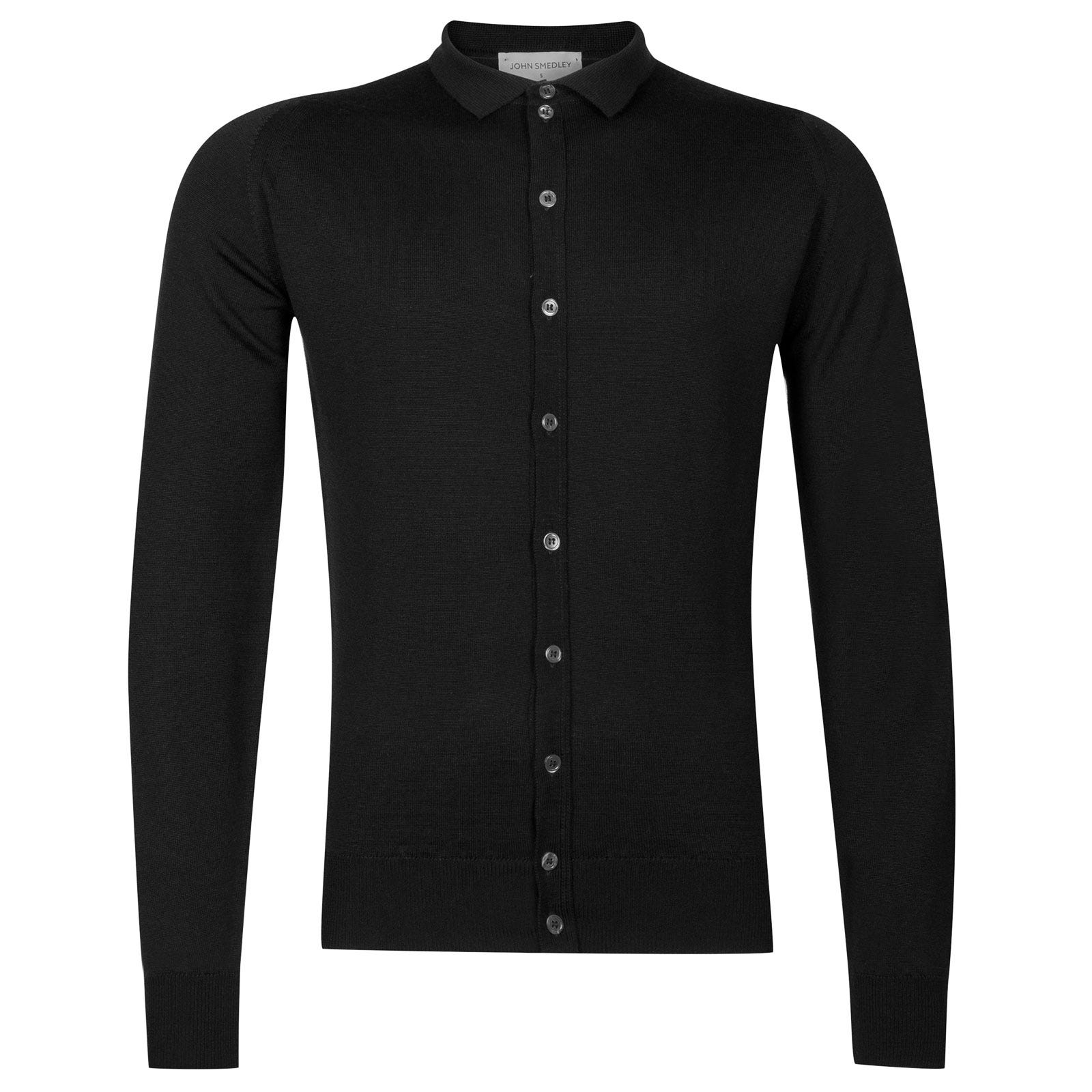 John Smedley Parwish Merino Wool Shirt in Black-XXL