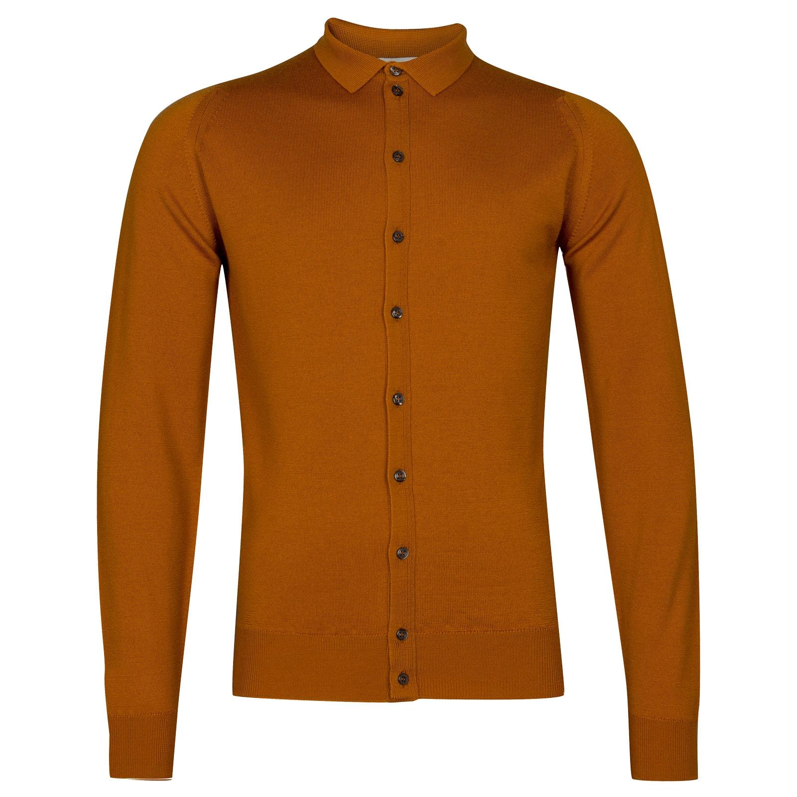 John Smedley Parwish Merino Wool Shirt in Bronze-L