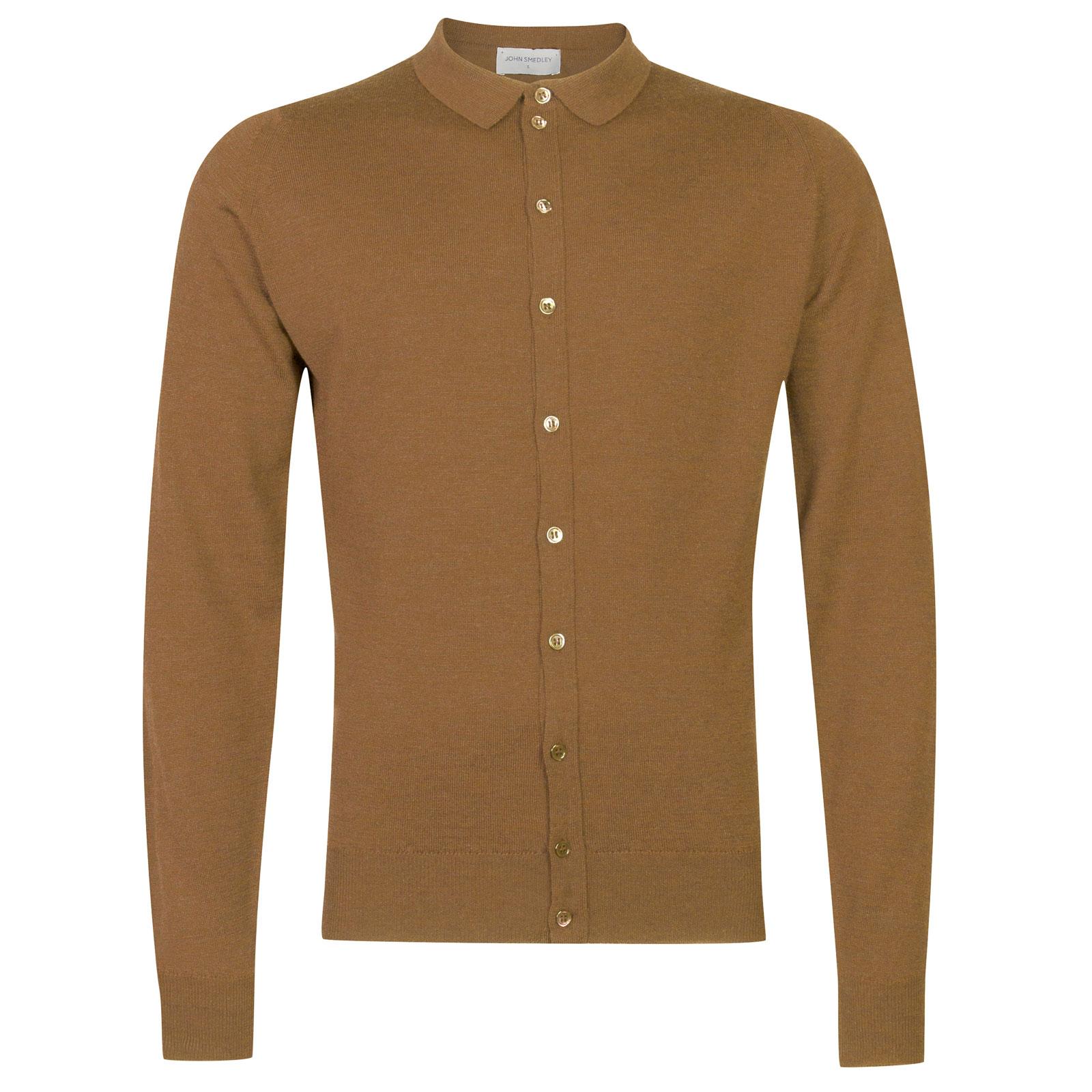 John Smedley parwish Merino Wool Shirt in Camel-M