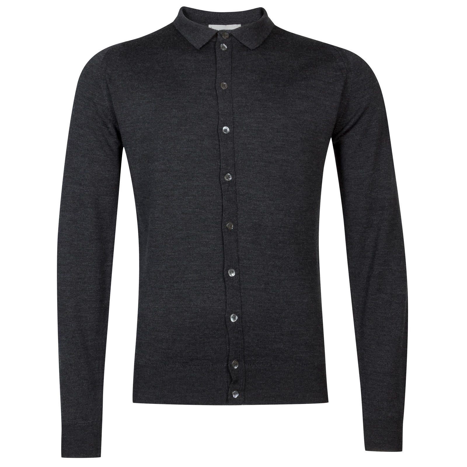 John Smedley parwish Merino Wool Shirt in Charcoal-XL