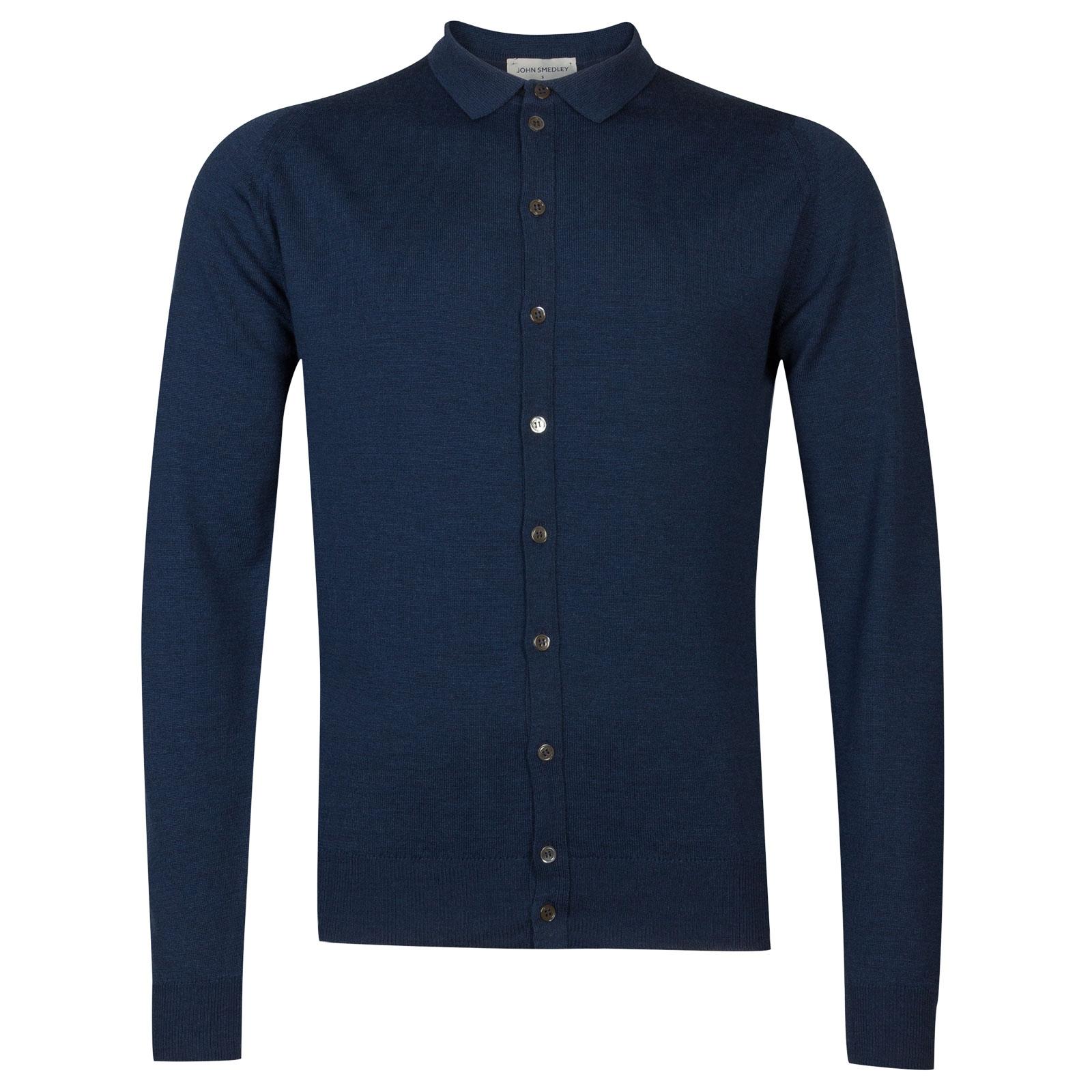 John Smedley Parwish Merino Wool Shirt in Indigo-L