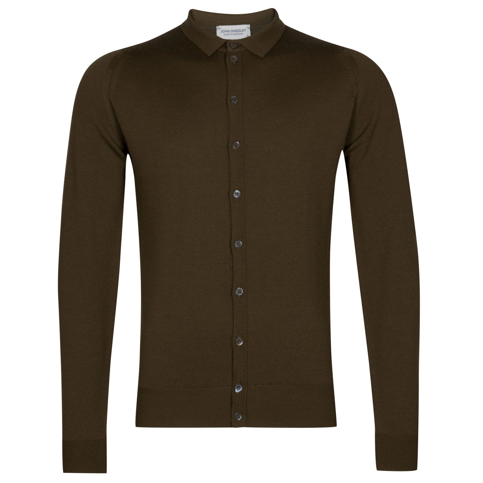 John Smedley parwish Merino Wool Shirt in Kielder Green-XL
