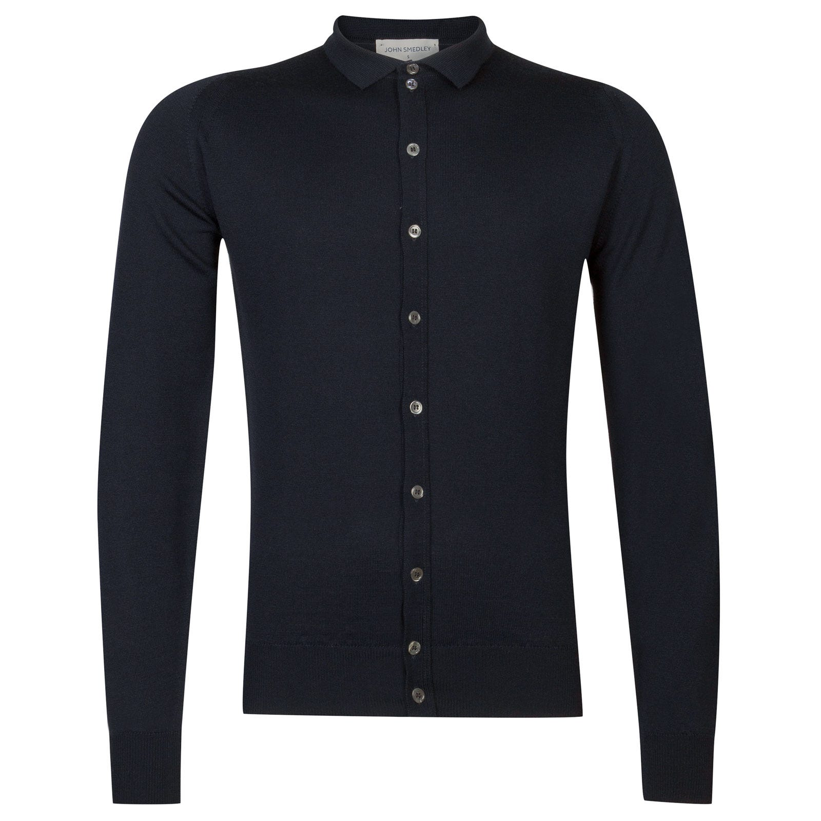 John Smedley parwish Merino Wool Shirt in Midnight-XL