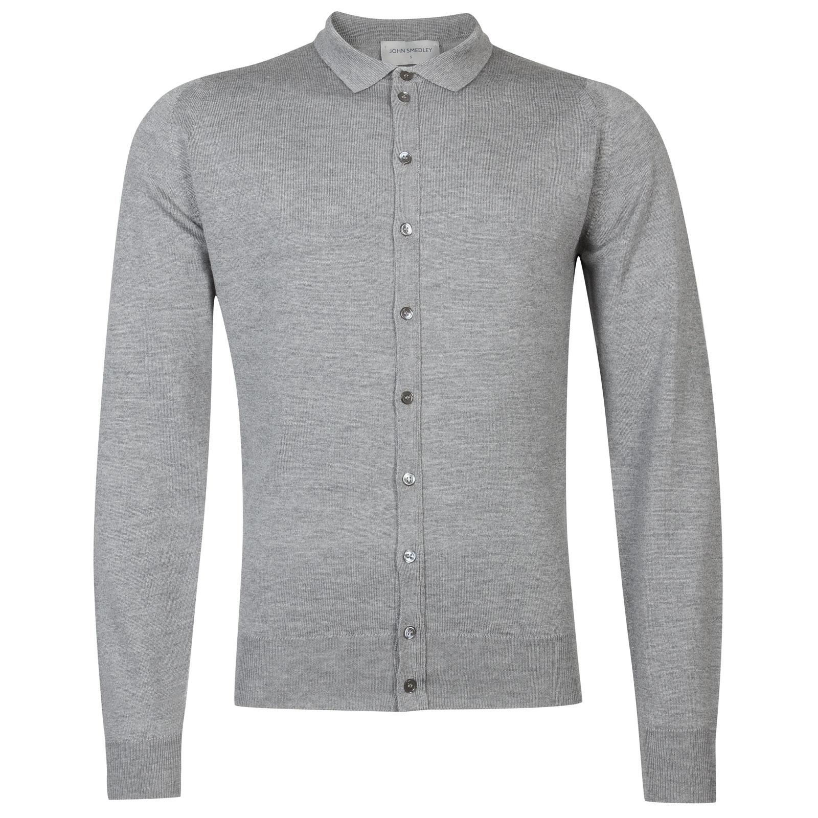 John Smedley Parwish Merino Wool Shirt in Silver-M