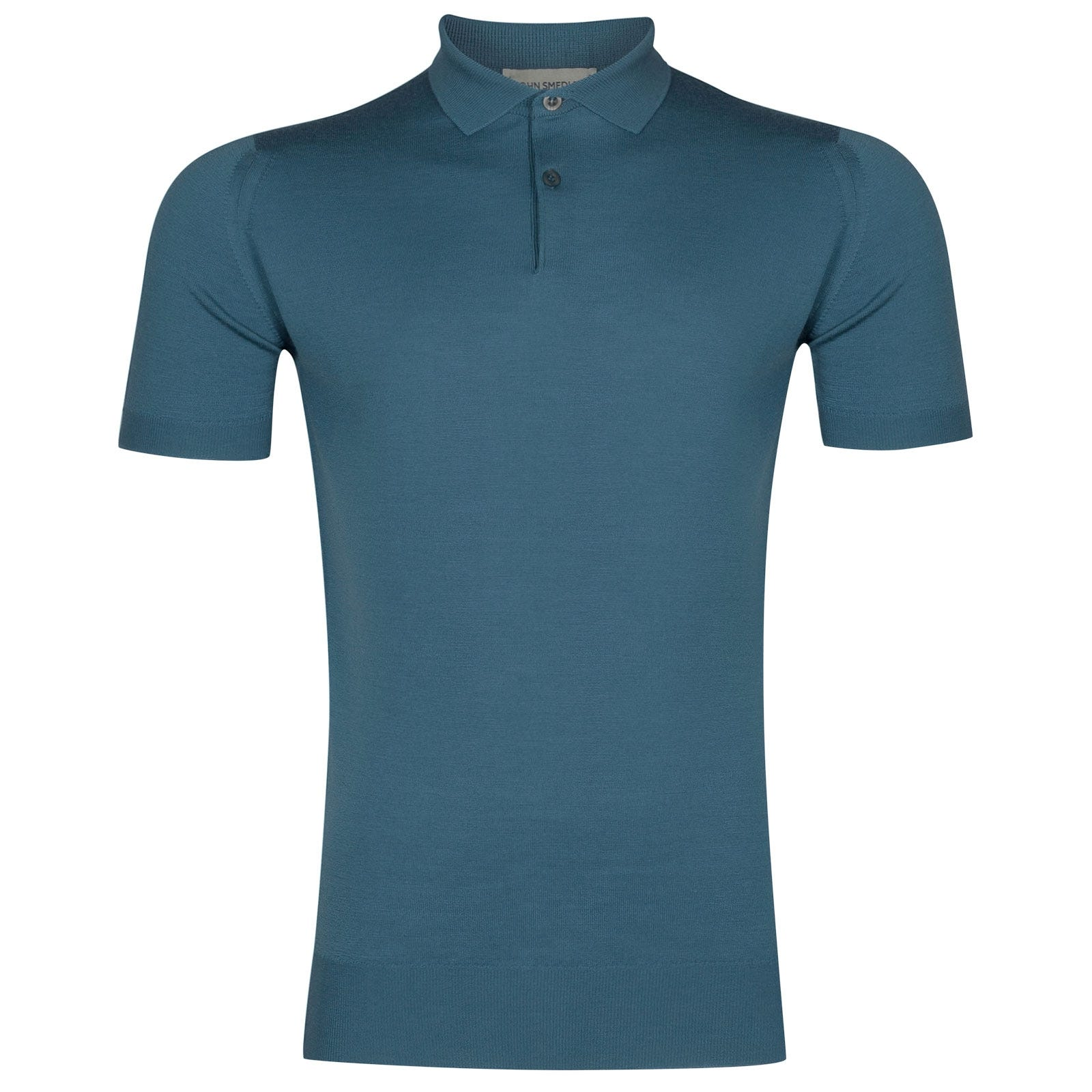 John Smedley Payton Merino Wool Shirt in Bias Blue-XXL