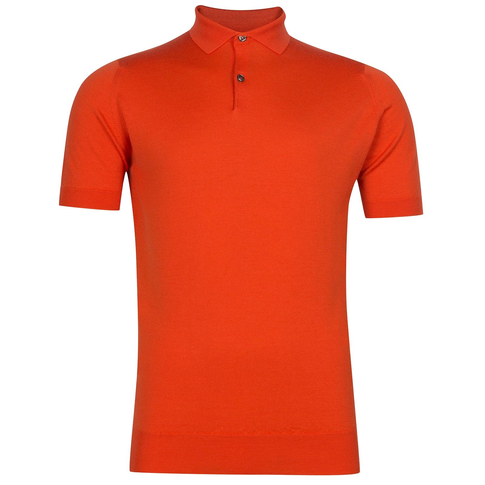 John Smedley Payton Merino Wool Shirt in Blaze Orange-XL