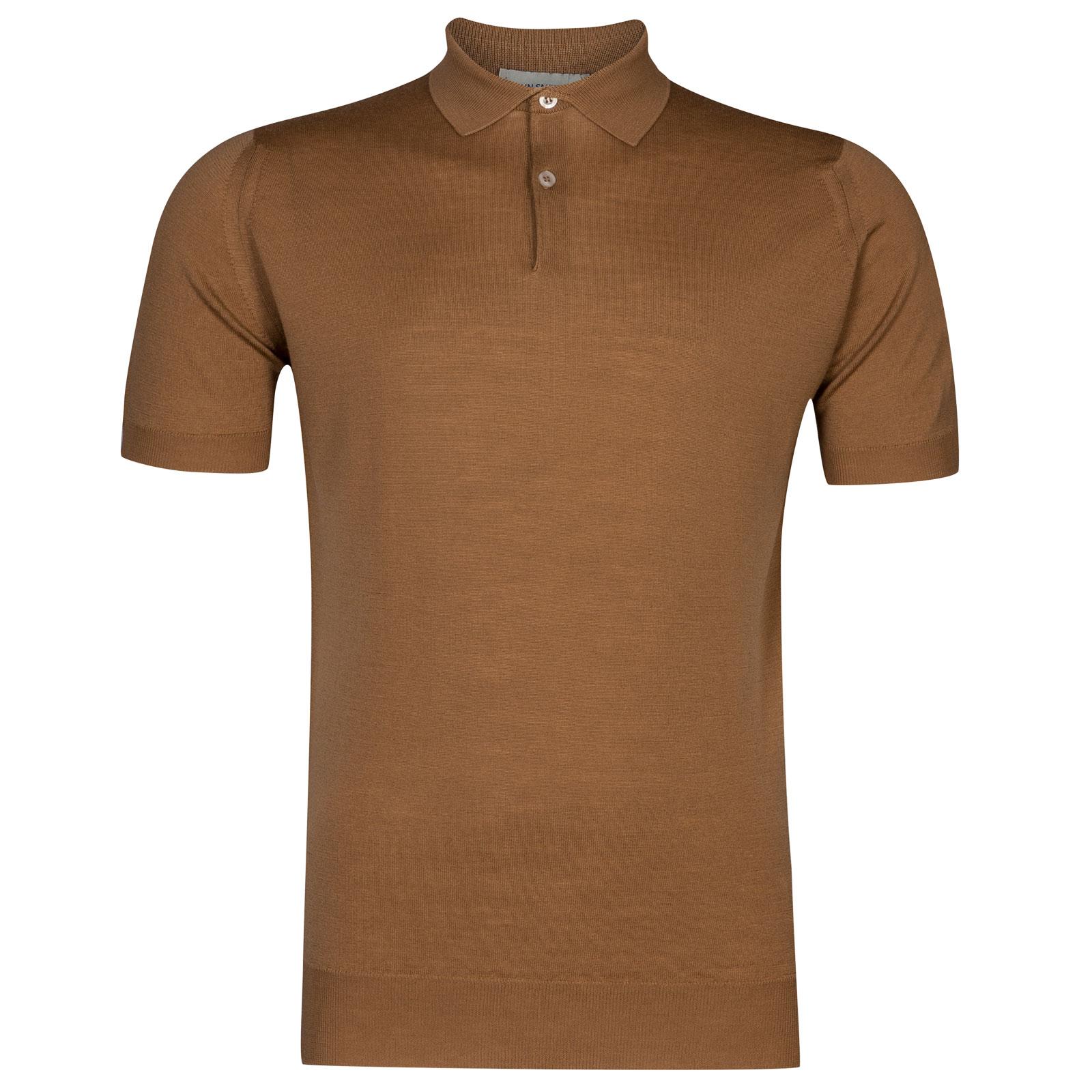 John Smedley payton Merino Wool Shirt in Camel-M