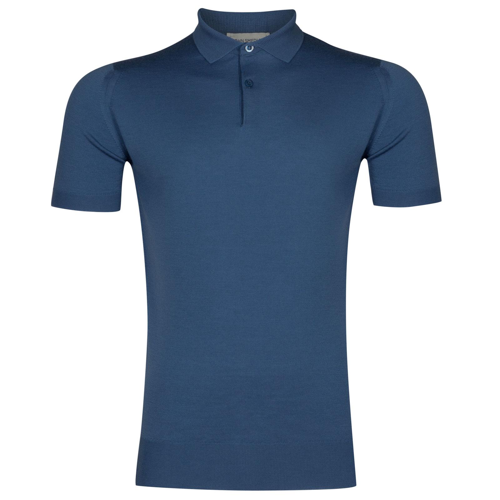 John Smedley payton Merino Wool Shirt in Derwent Blue-XL