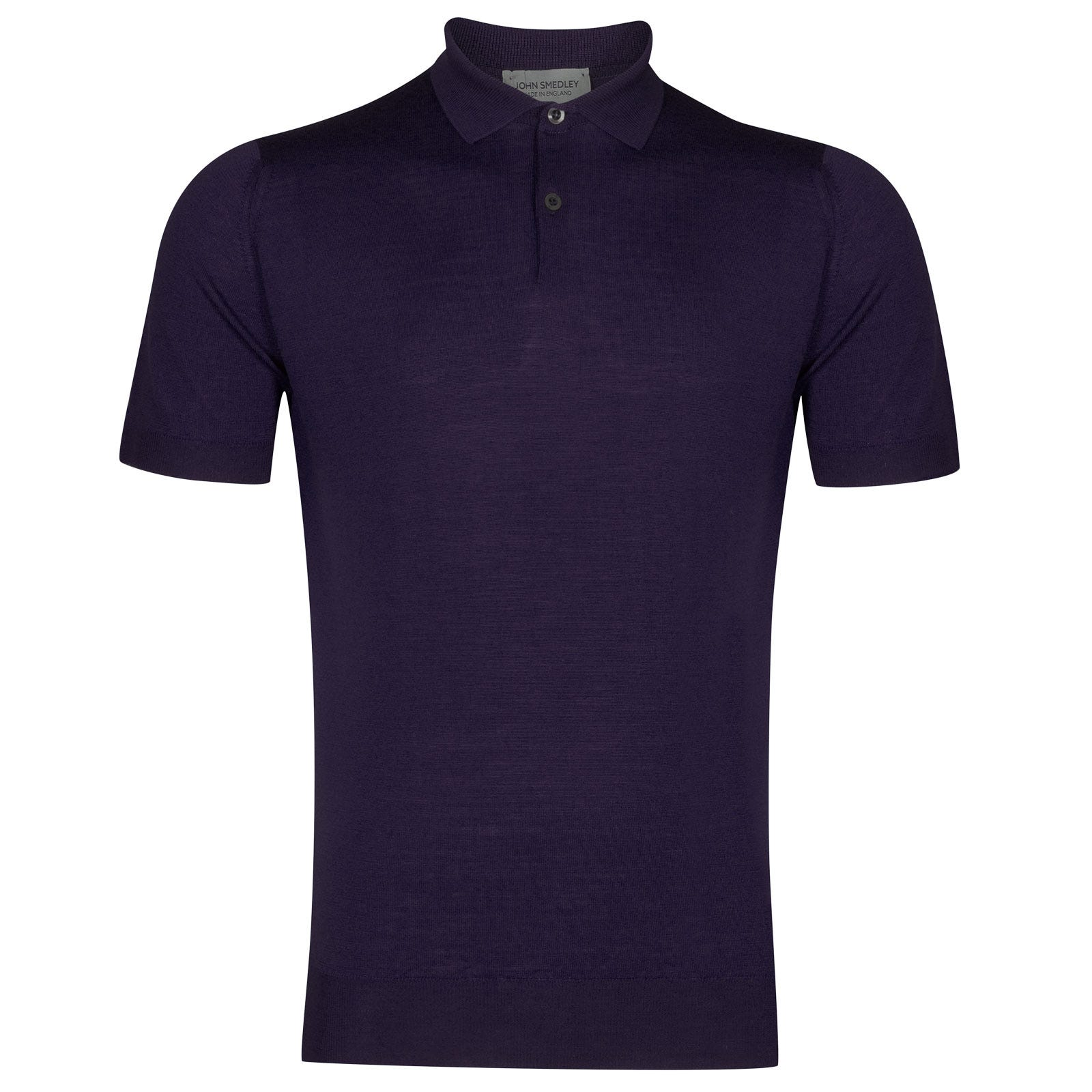John Smedley payton Merino Wool Shirt in Elderberry Purple-XXL