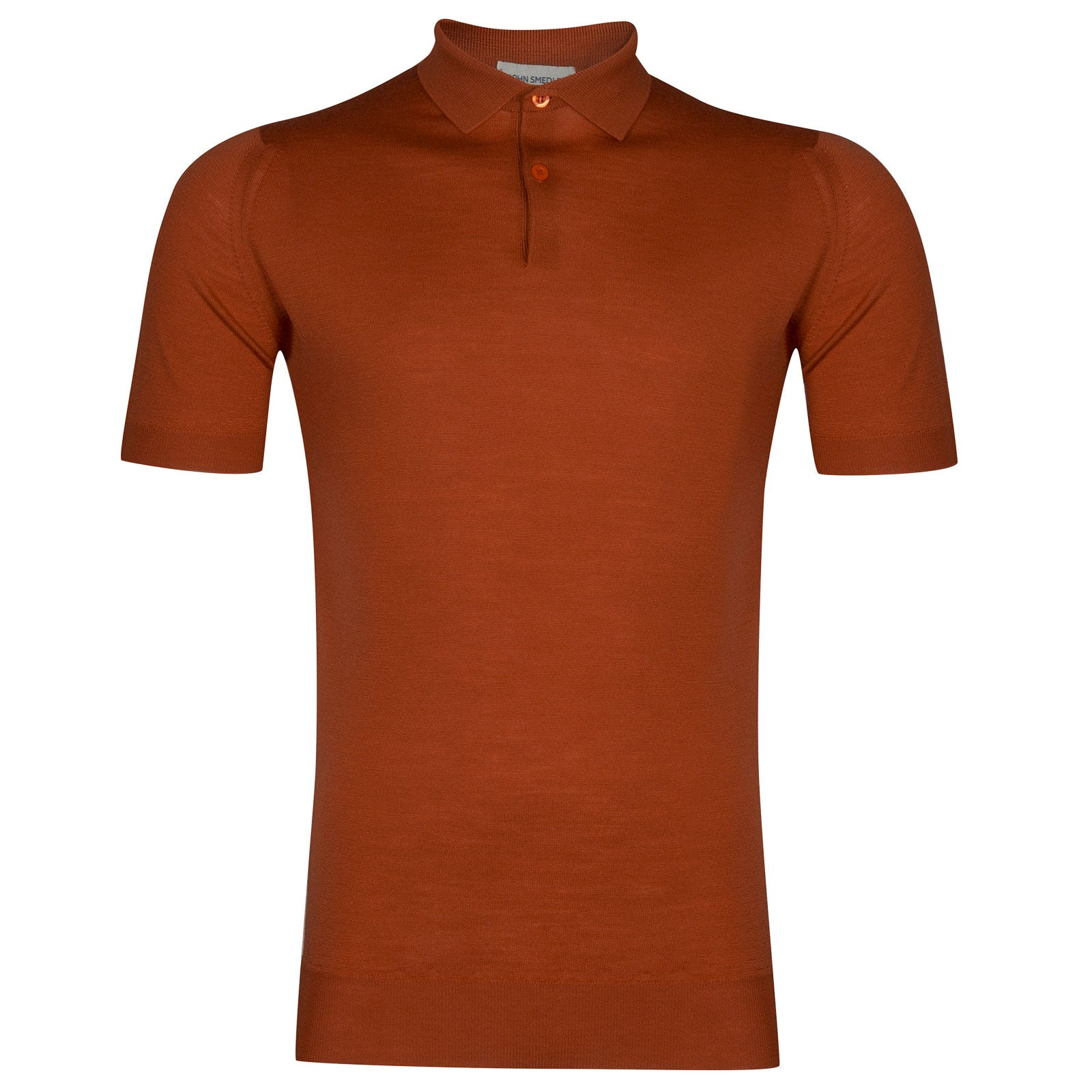 John Smedley payton Merino Wool Shirt in Flare Orange-XL