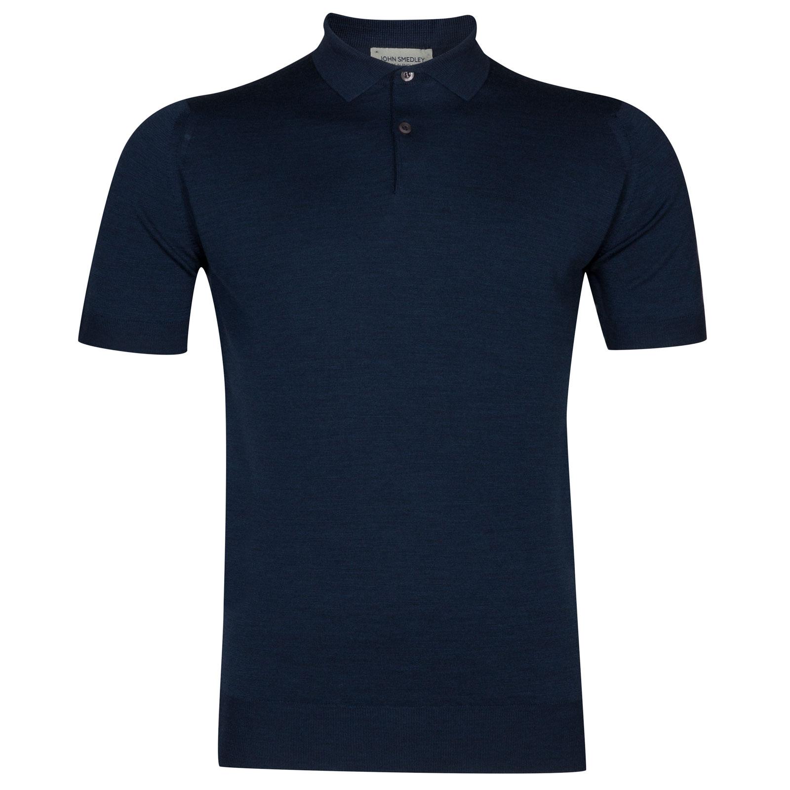 John Smedley payton Merino Wool Shirt in Indigo-XXL