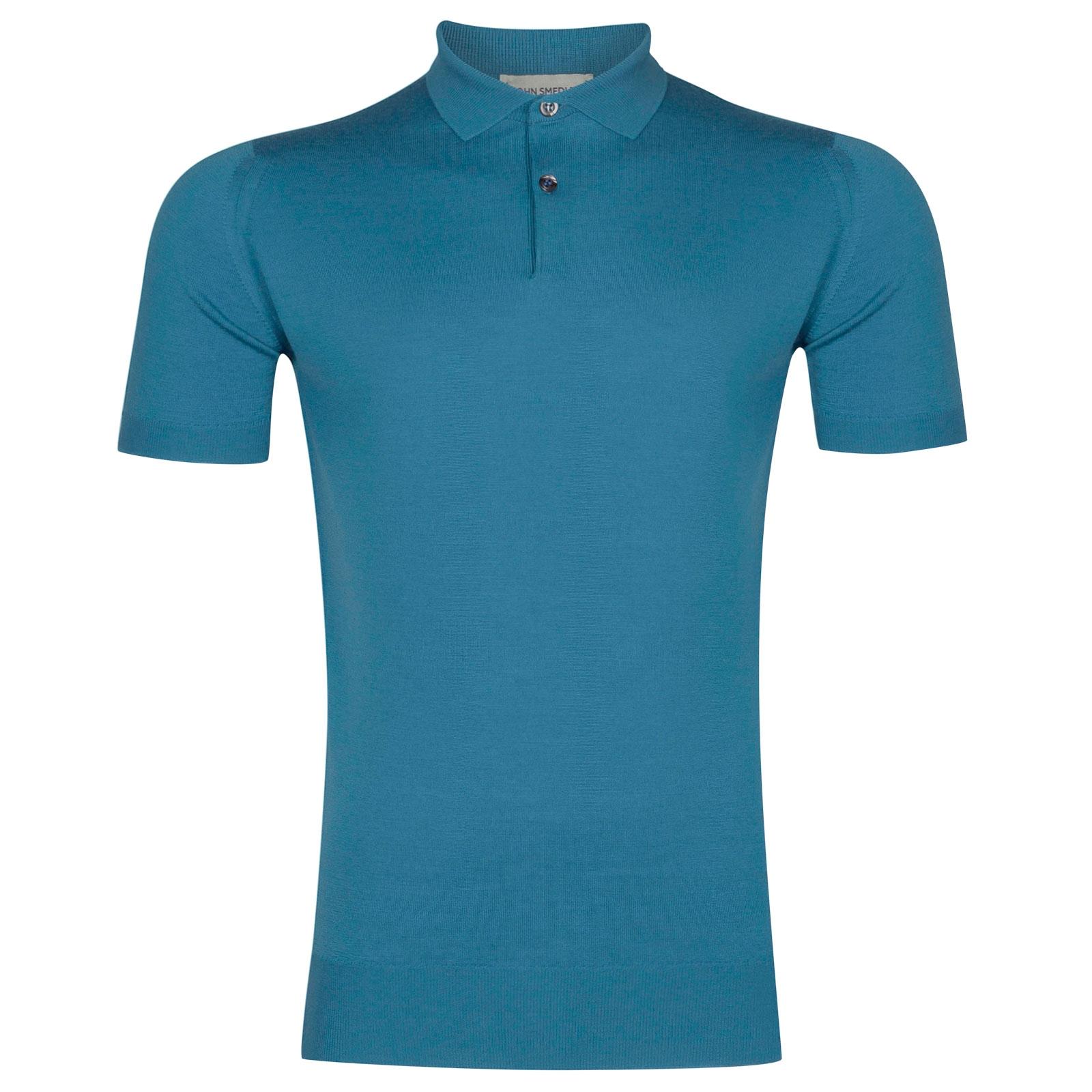 John Smedley Payton Merino Wool Shirt in Ionize Blue-M