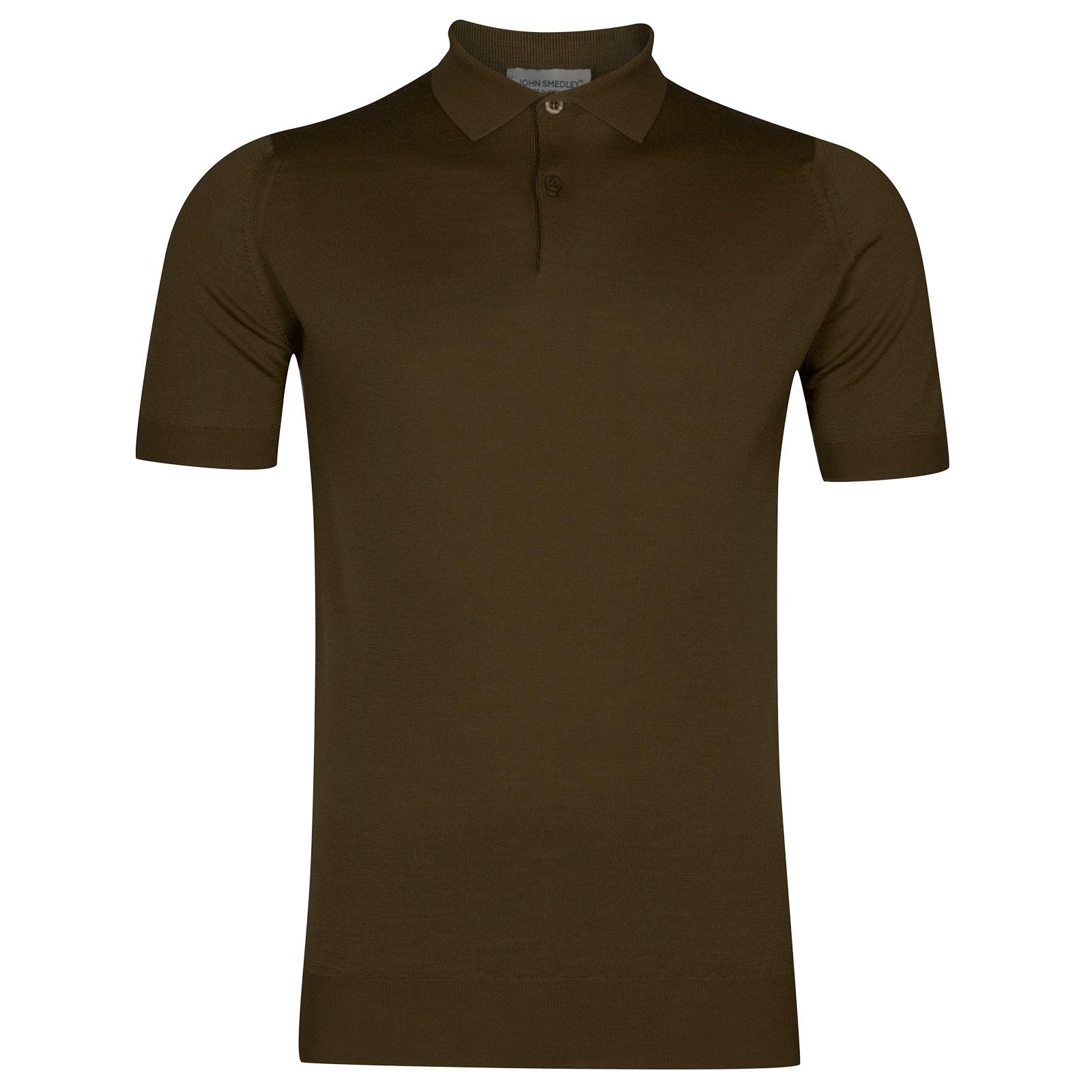 John Smedley Payton Merino Wool Shirt in Khaki-XXL