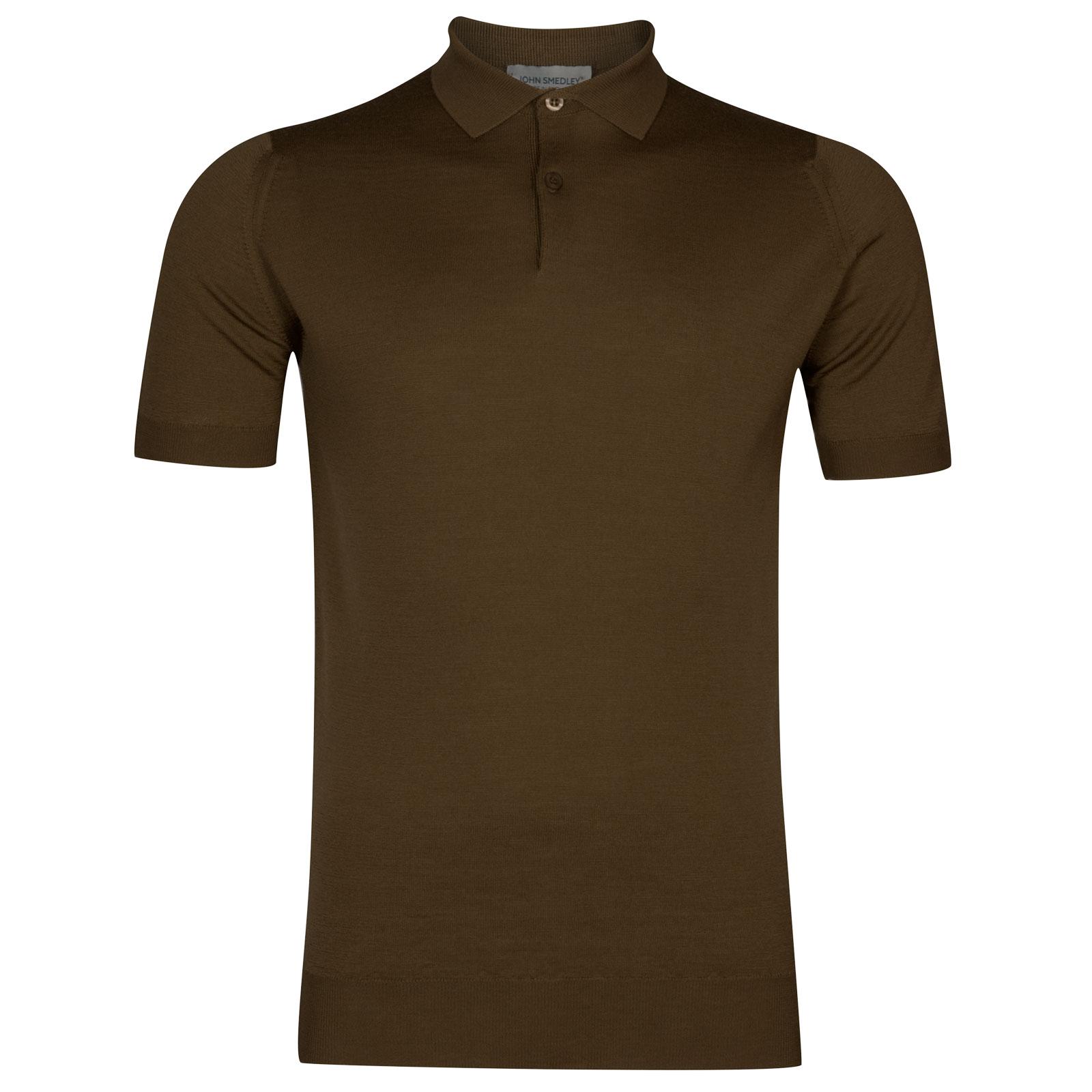 John Smedley payton Merino Wool Shirt in Kielder Green-M