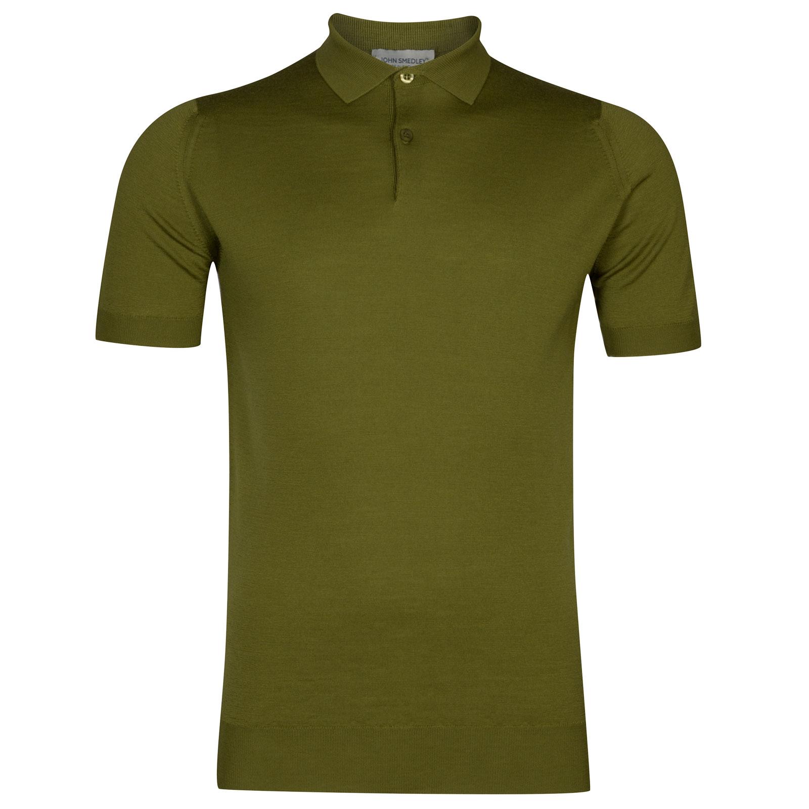 John Smedley payton Merino Wool Shirt in Lumsdale Green-L