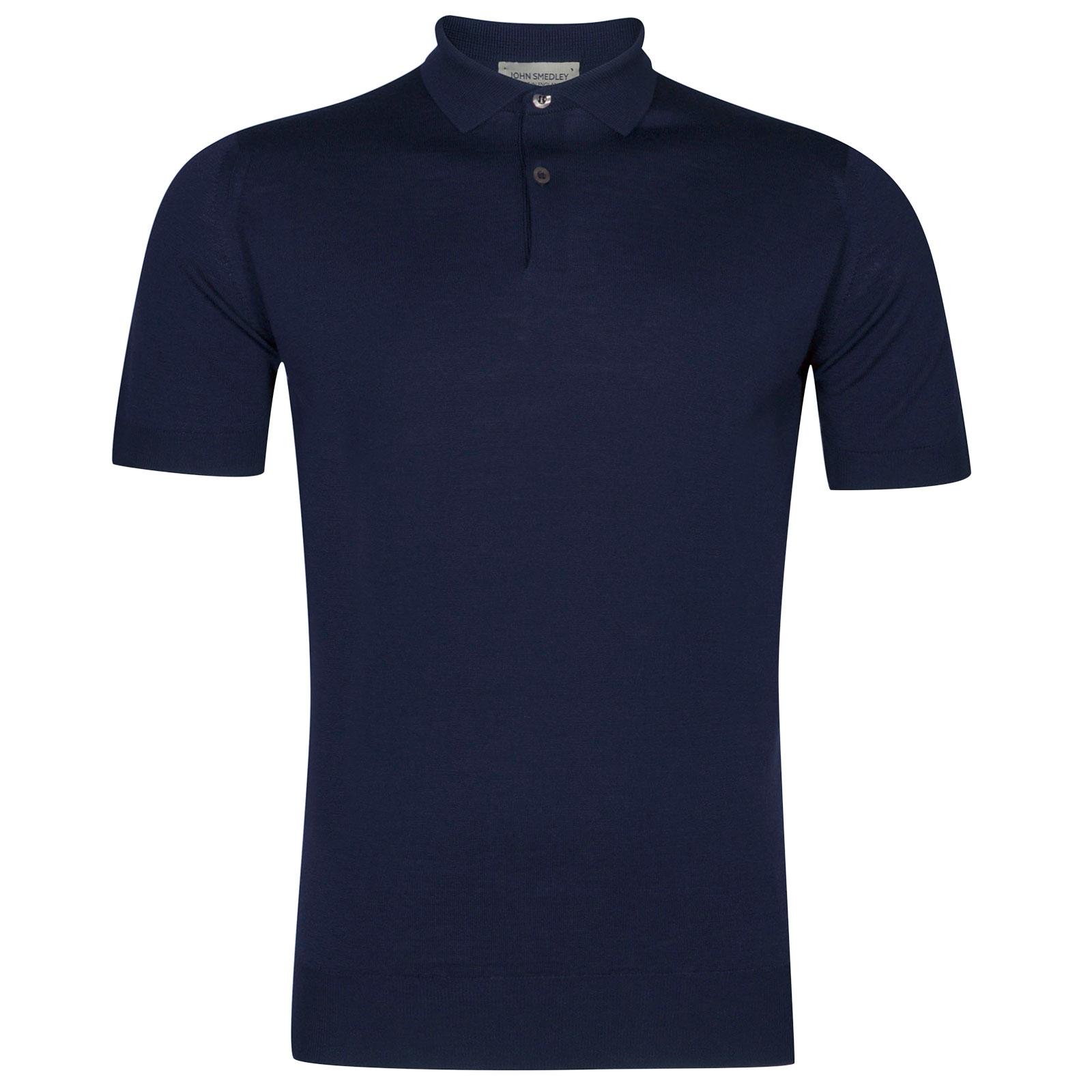 John Smedley Payton Merino Wool Shirt in Magnetic Cobalt-XXL