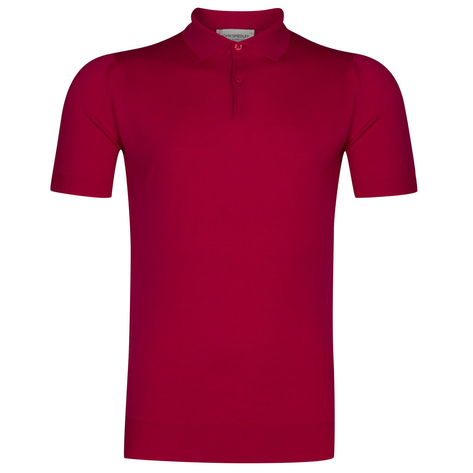 John Smedley payton Merino Wool Shirt in Scarlet Sky-M