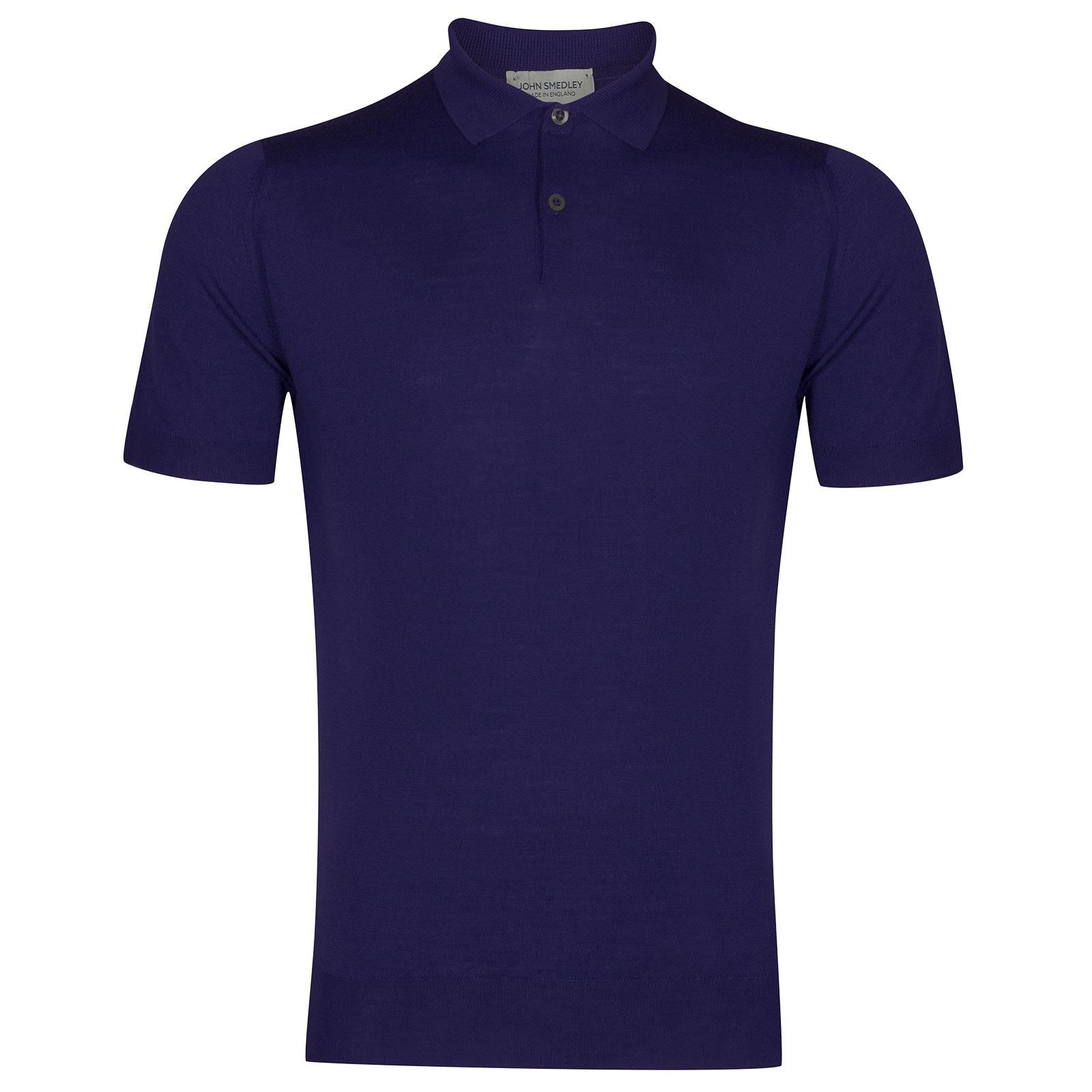 John Smedley Payton Merino Wool Shirt in Serge Blue-XXL