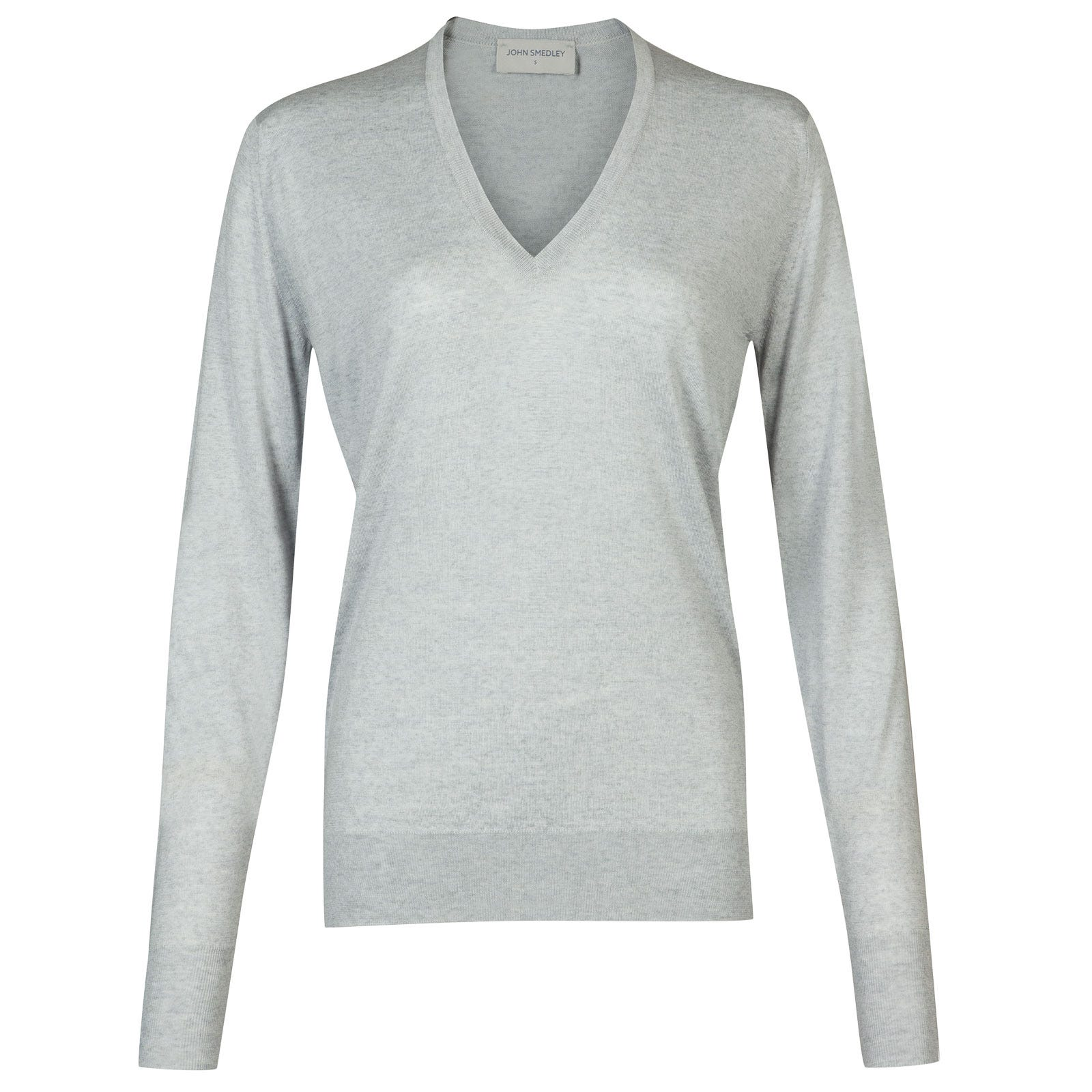 John Smedley Pepin Merino Wool Sweater in Bardot Grey-L