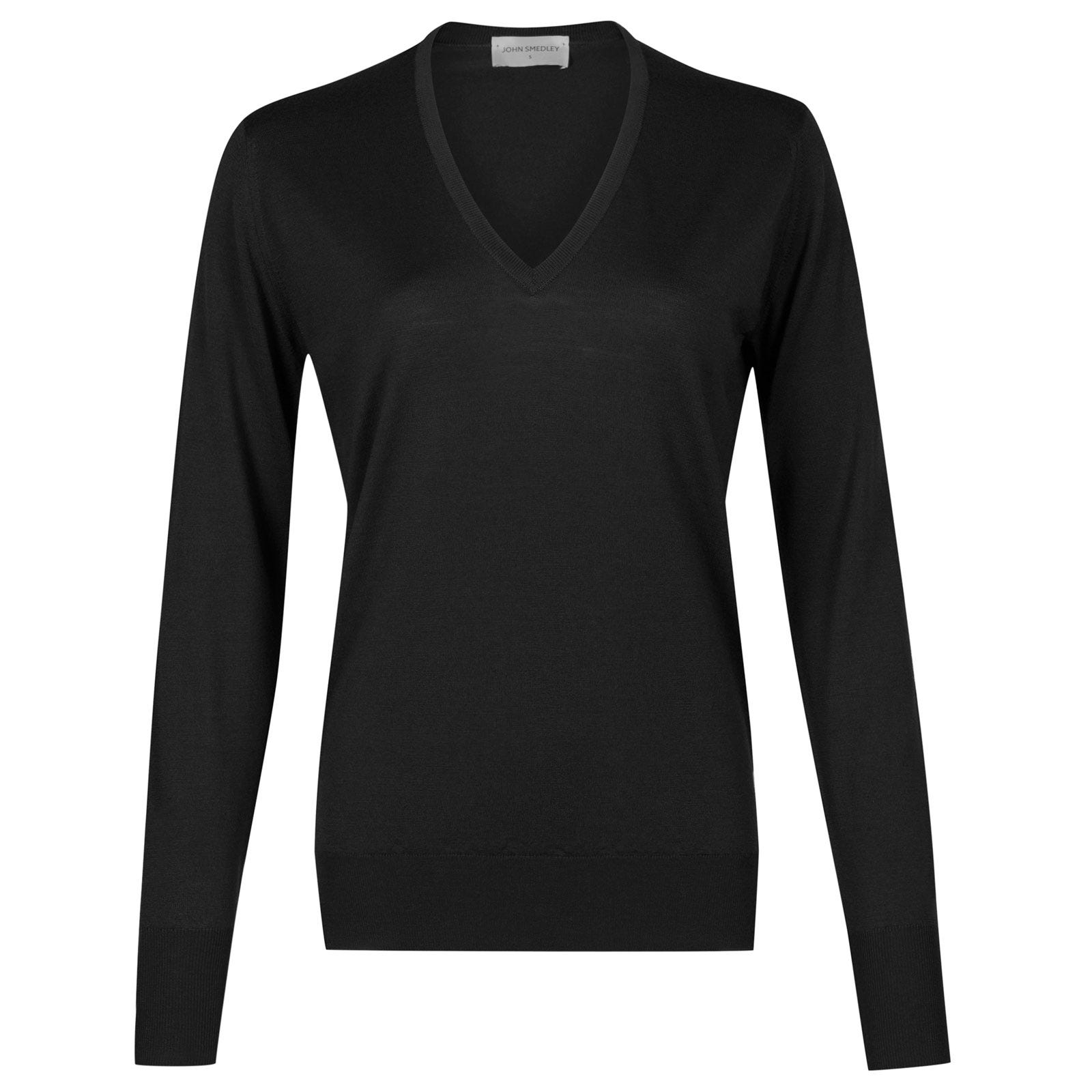 John Smedley Pepin Merino Wool Sweater in Black-L