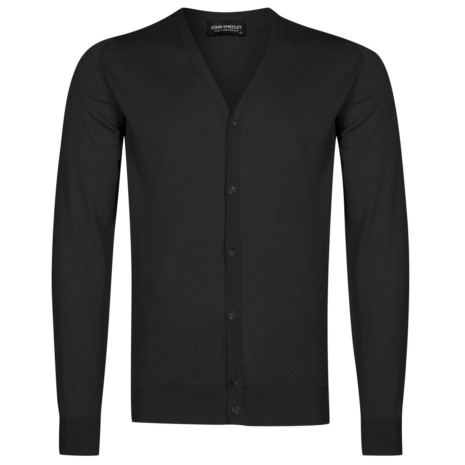 John Smedley petworth Merino Wool Cardigan in Black-S