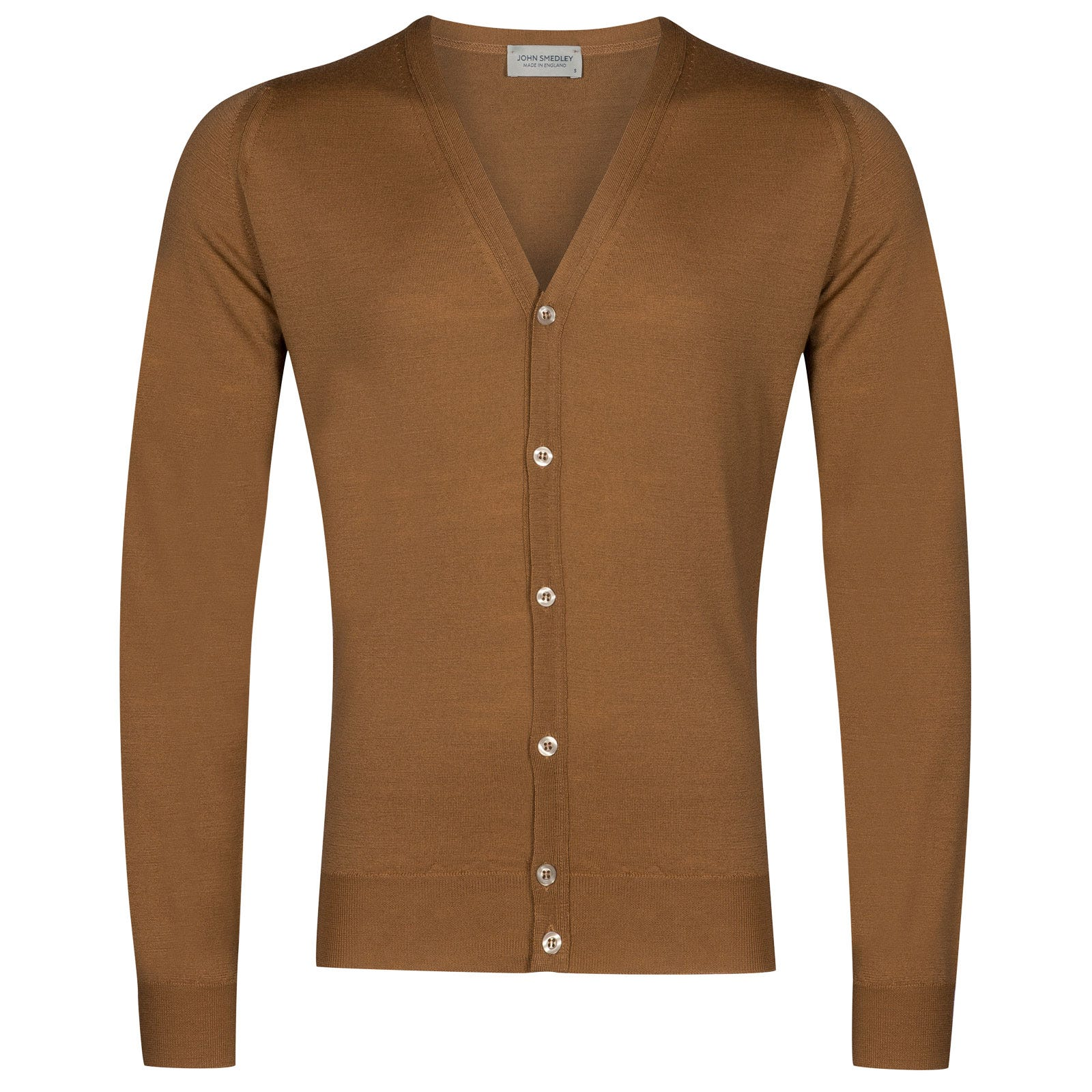 John Smedley petworth Merino Wool Cardigan in Camel-M