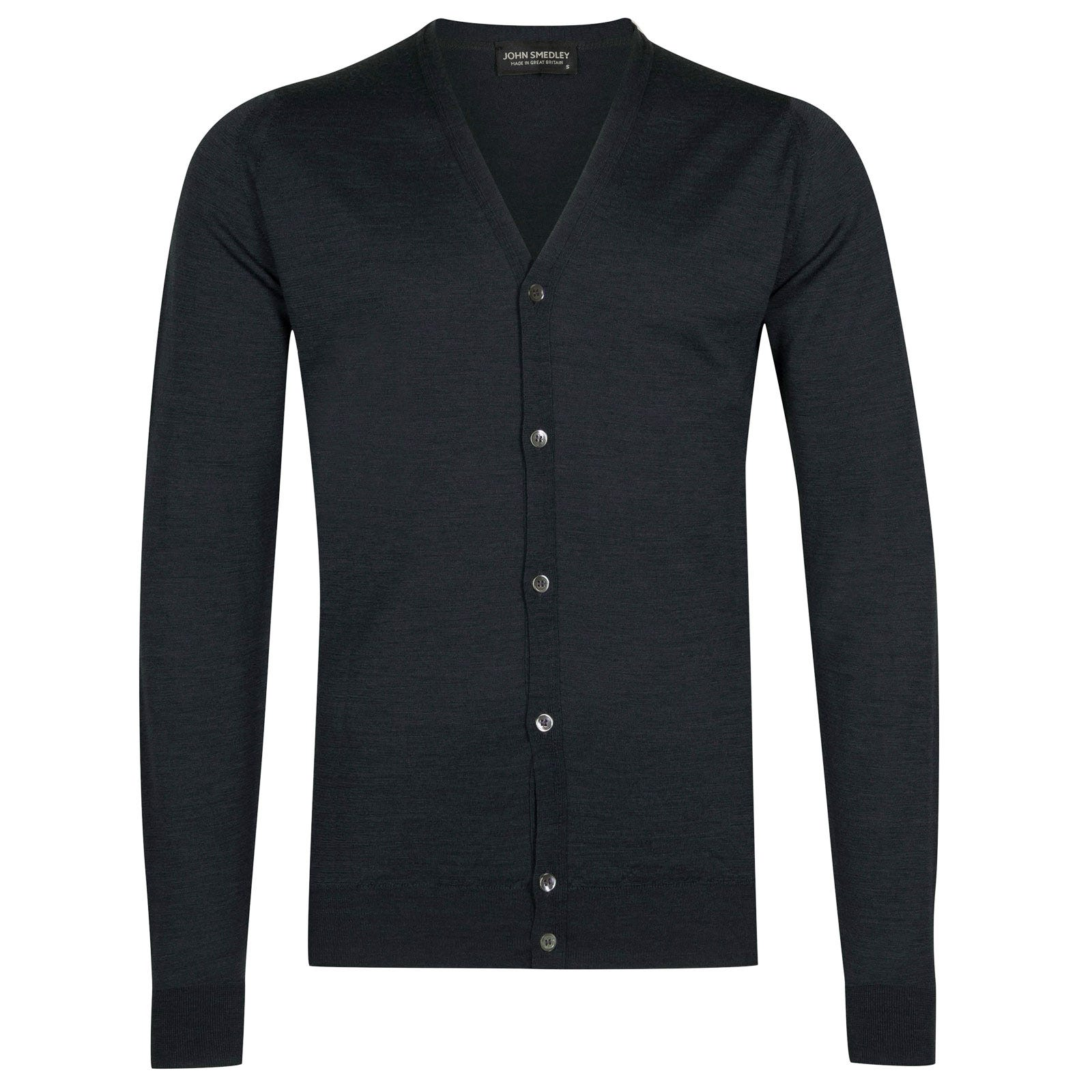 John Smedley petworth Merino Wool Cardigan in Charcoal-S