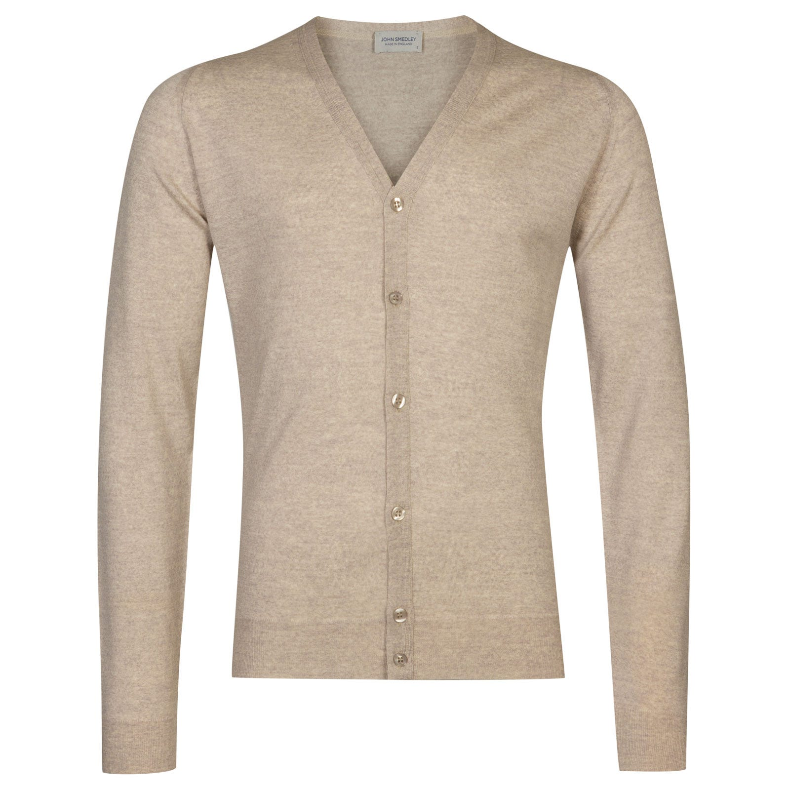 John Smedley Petworth Merino Wool Cardigan in Eastwood Beige-XL