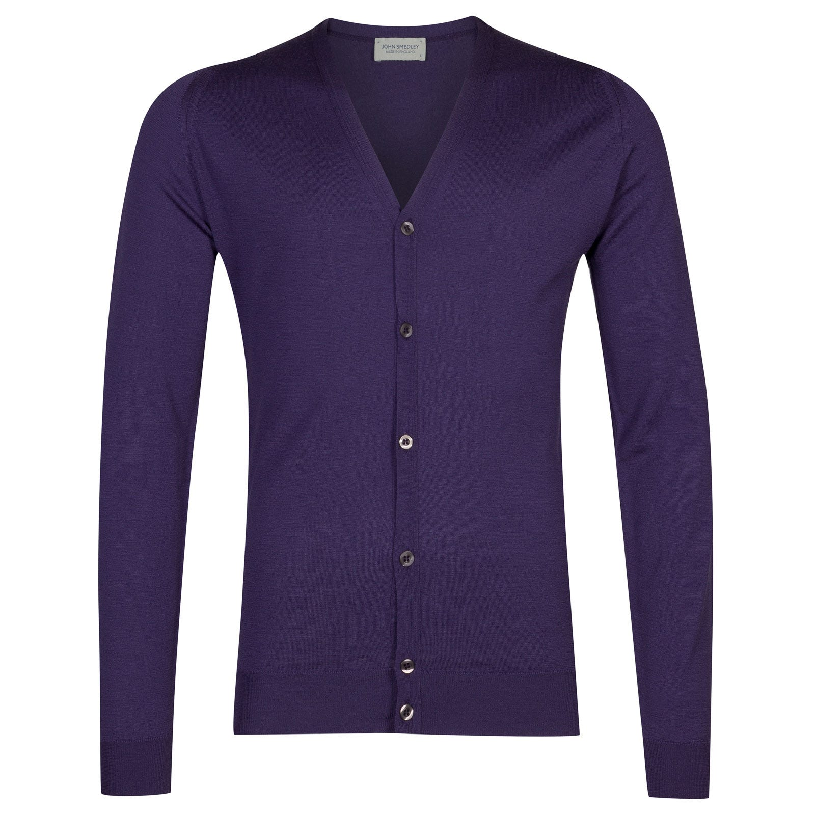 John Smedley petworth Merino Wool Cardigan in Elderberry Purple-XXL