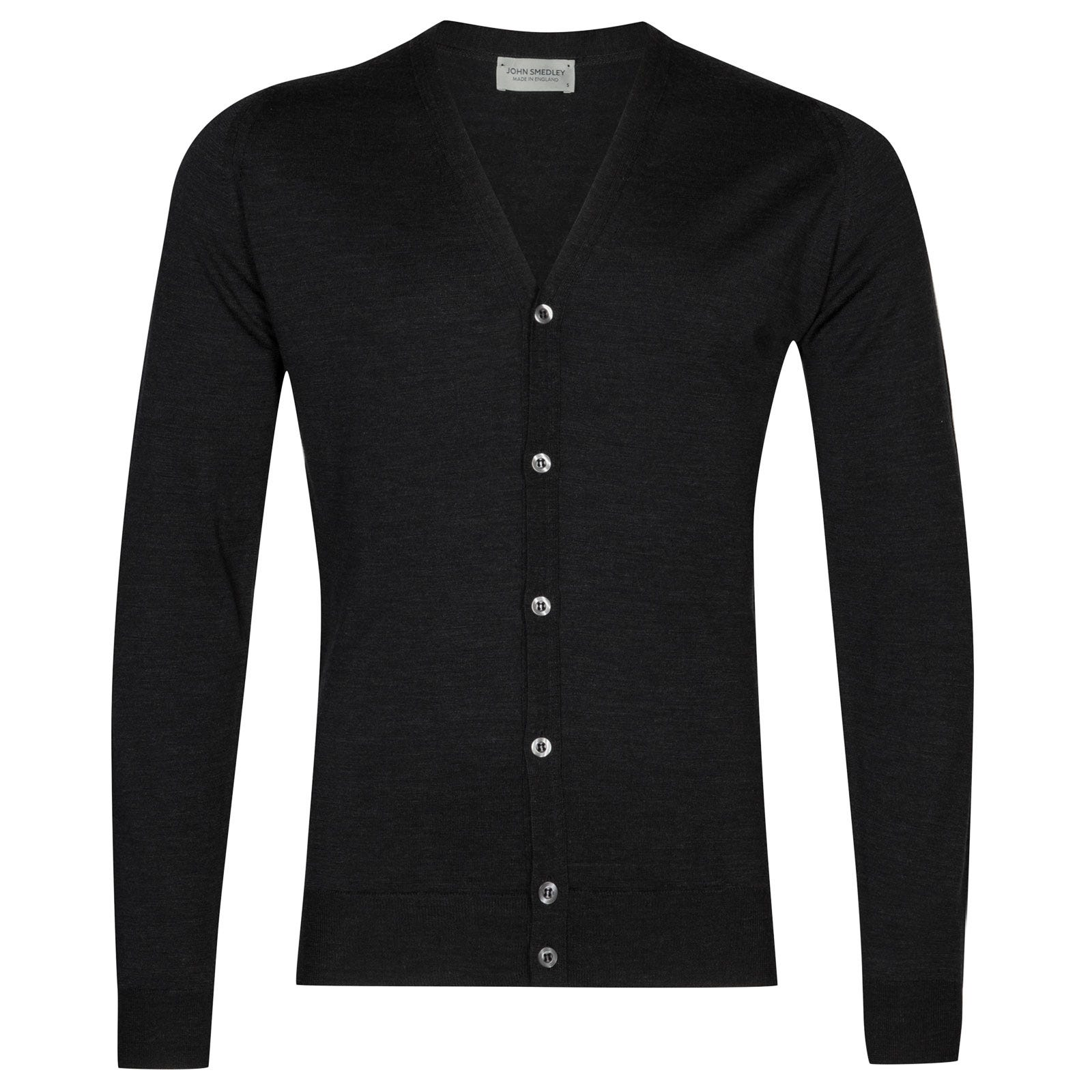 John Smedley petworth Merino Wool Cardigan in Hepburn Smoke-XL
