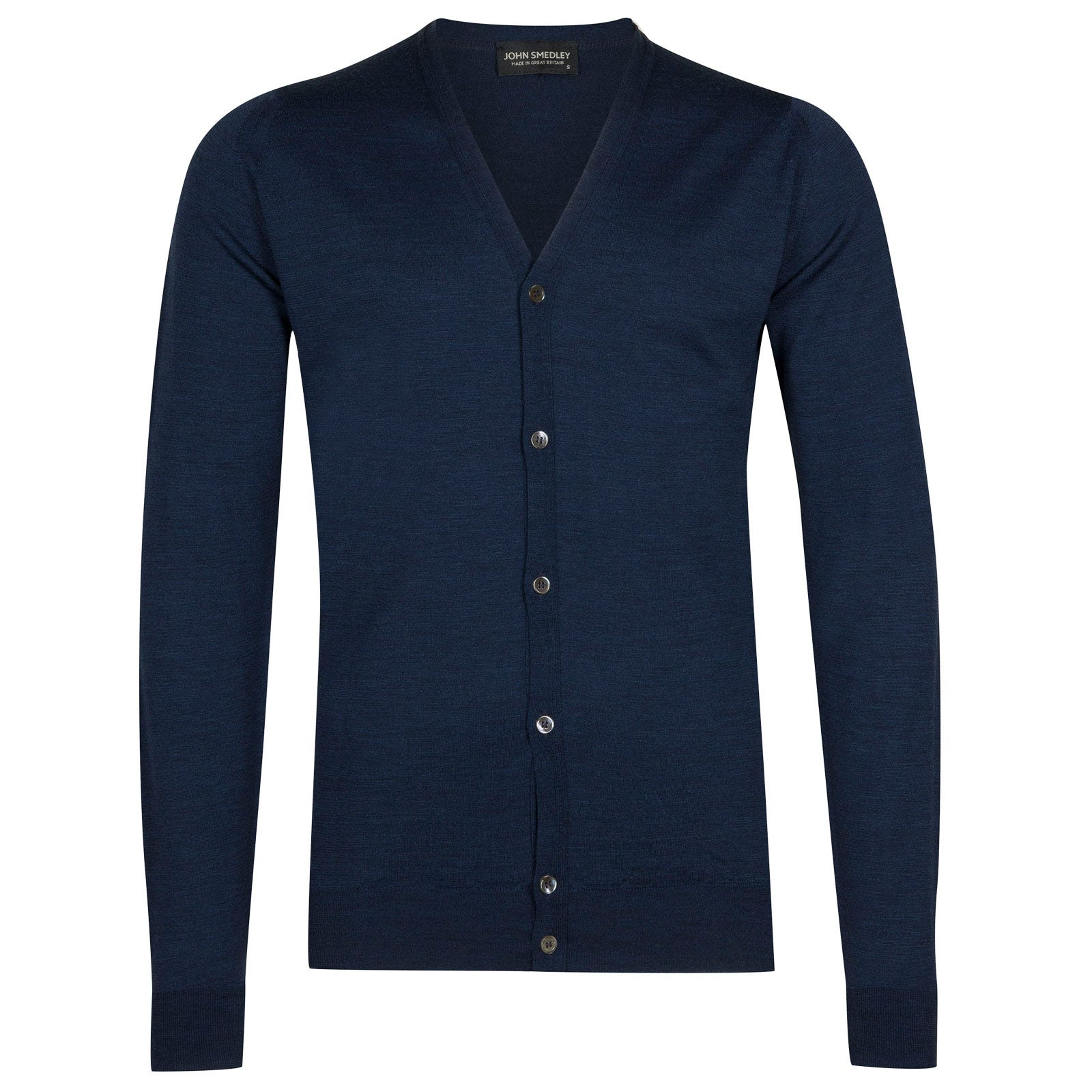 John Smedley petworth Merino Wool Cardigan in Indigo-XL