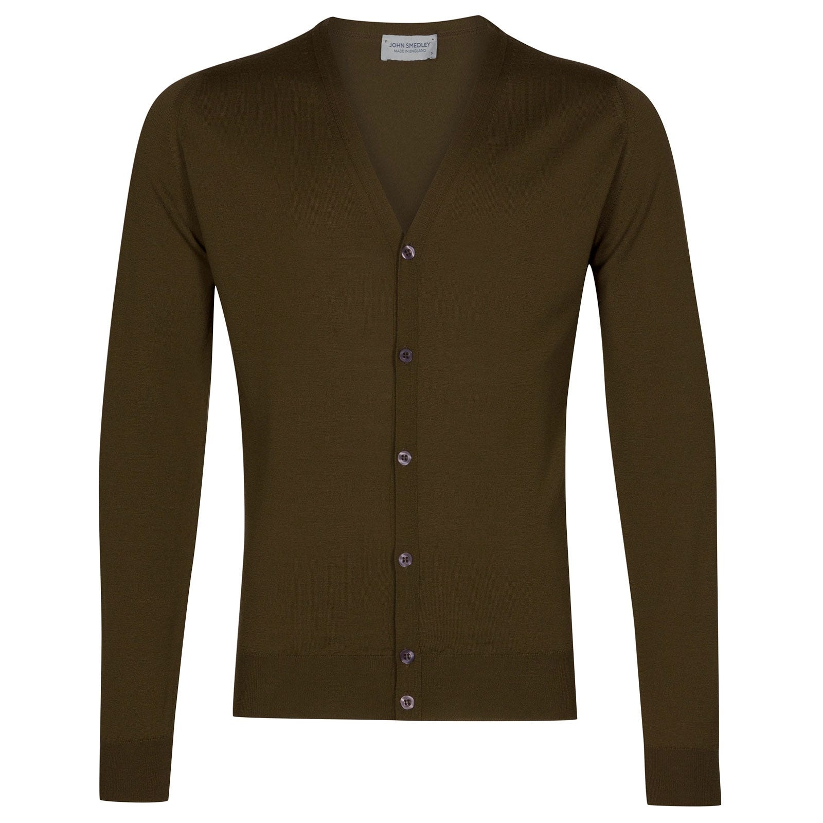 John Smedley Petworth Merino Wool Cardigan in Khaki-M