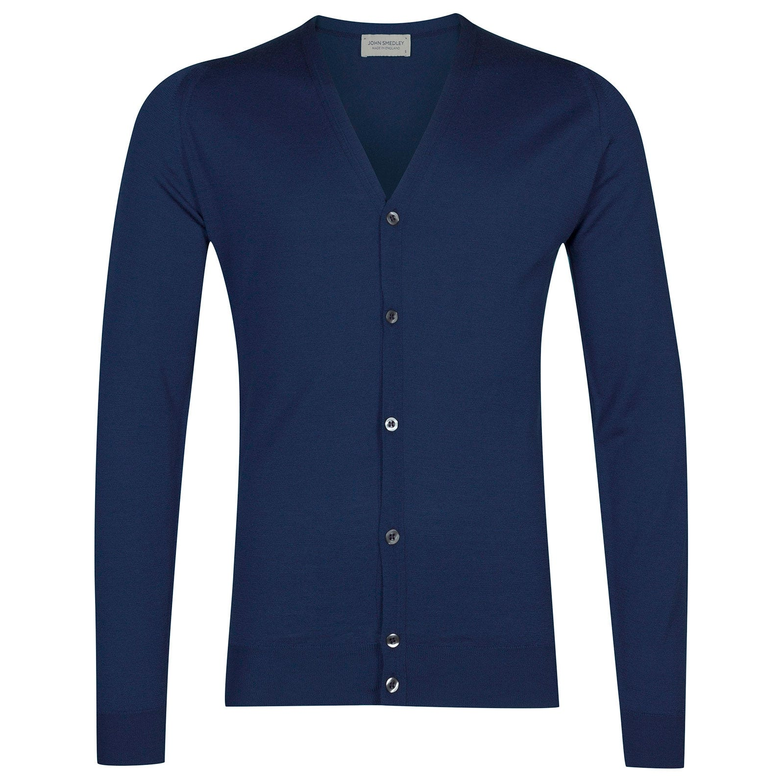 John Smedley Petworth Merino Wool Cardigan in Magnetic Cobalt-S