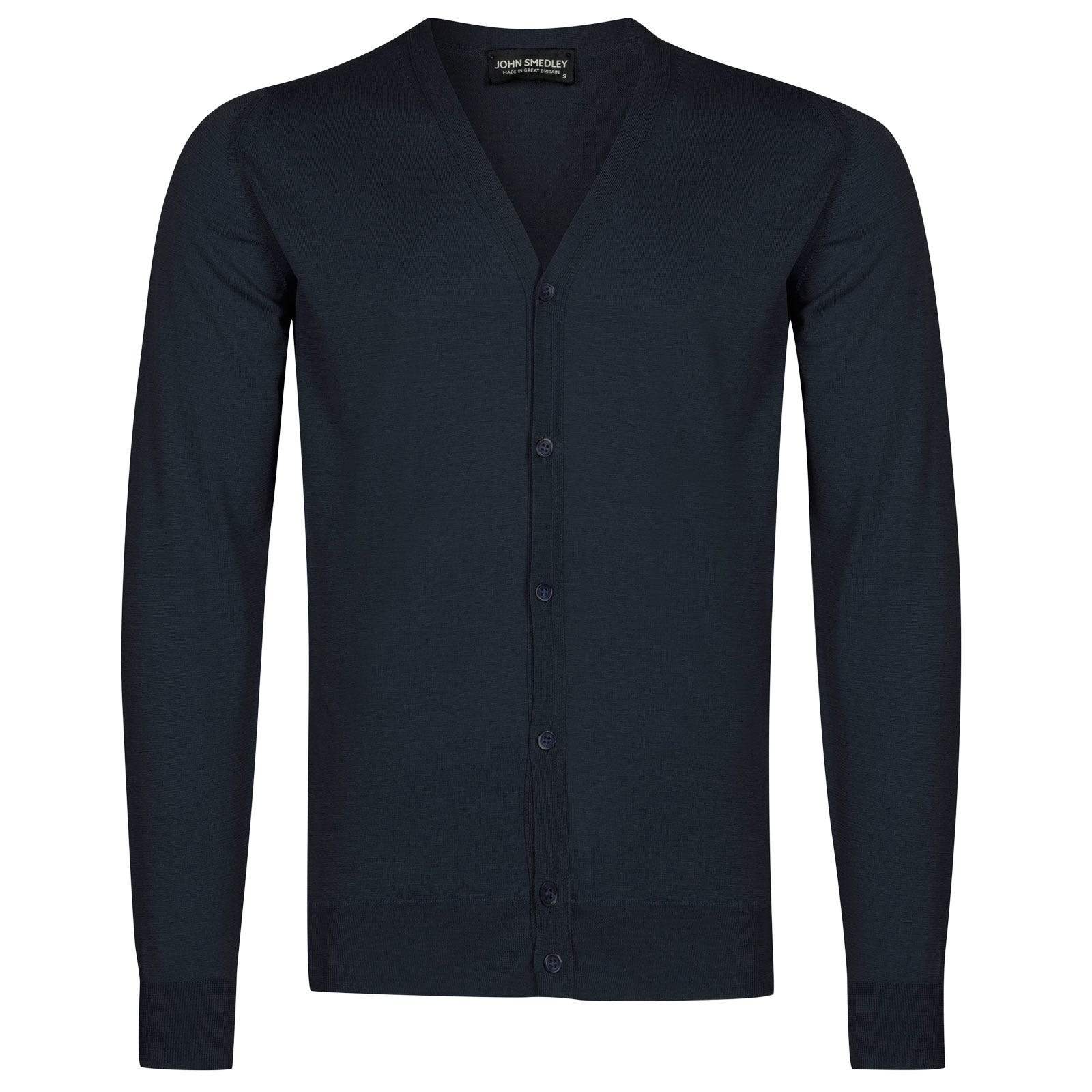 John Smedley petworth Merino Wool Cardigan in Midnight-XL