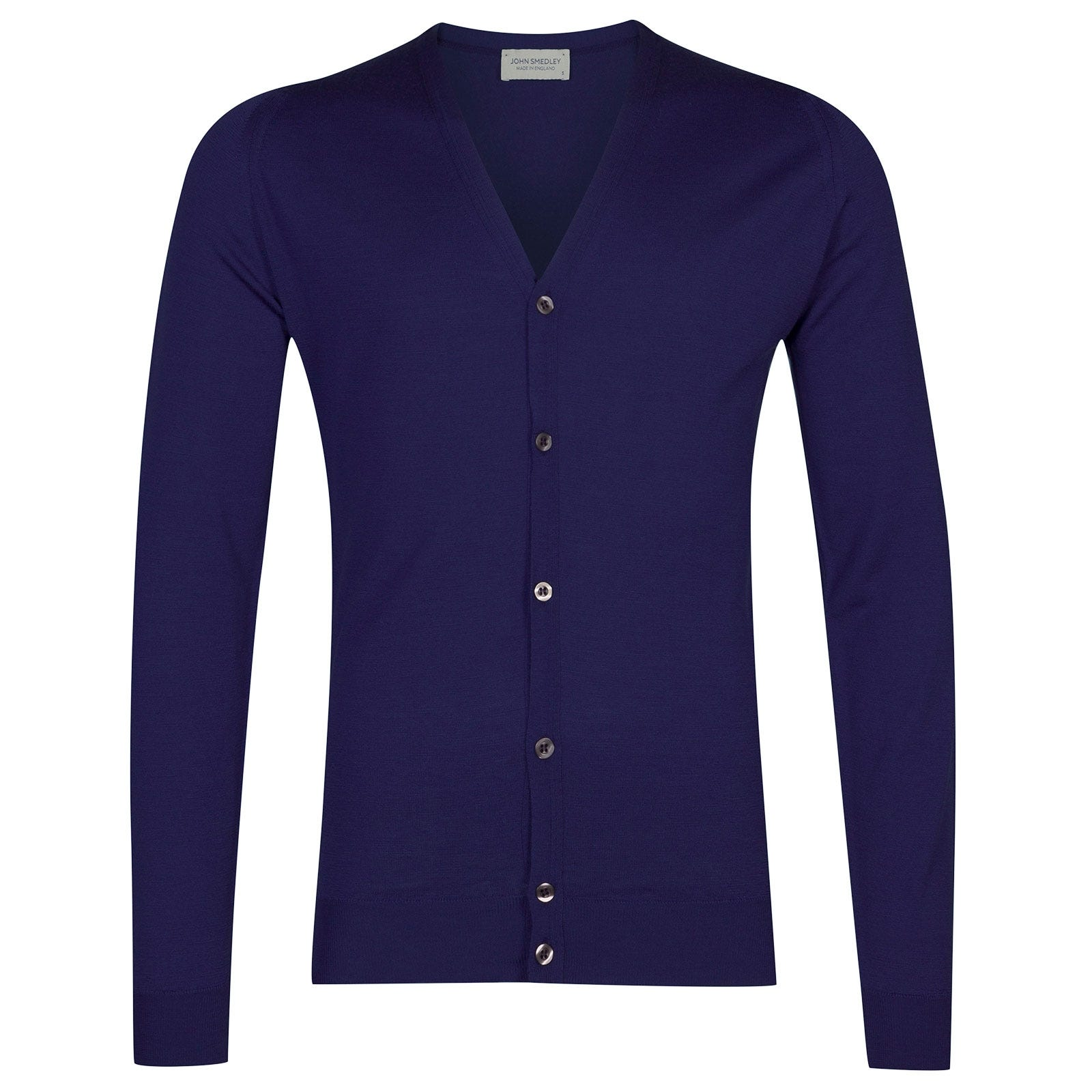 John Smedley Petworth Merino Wool Cardigan in Serge Blue-M
