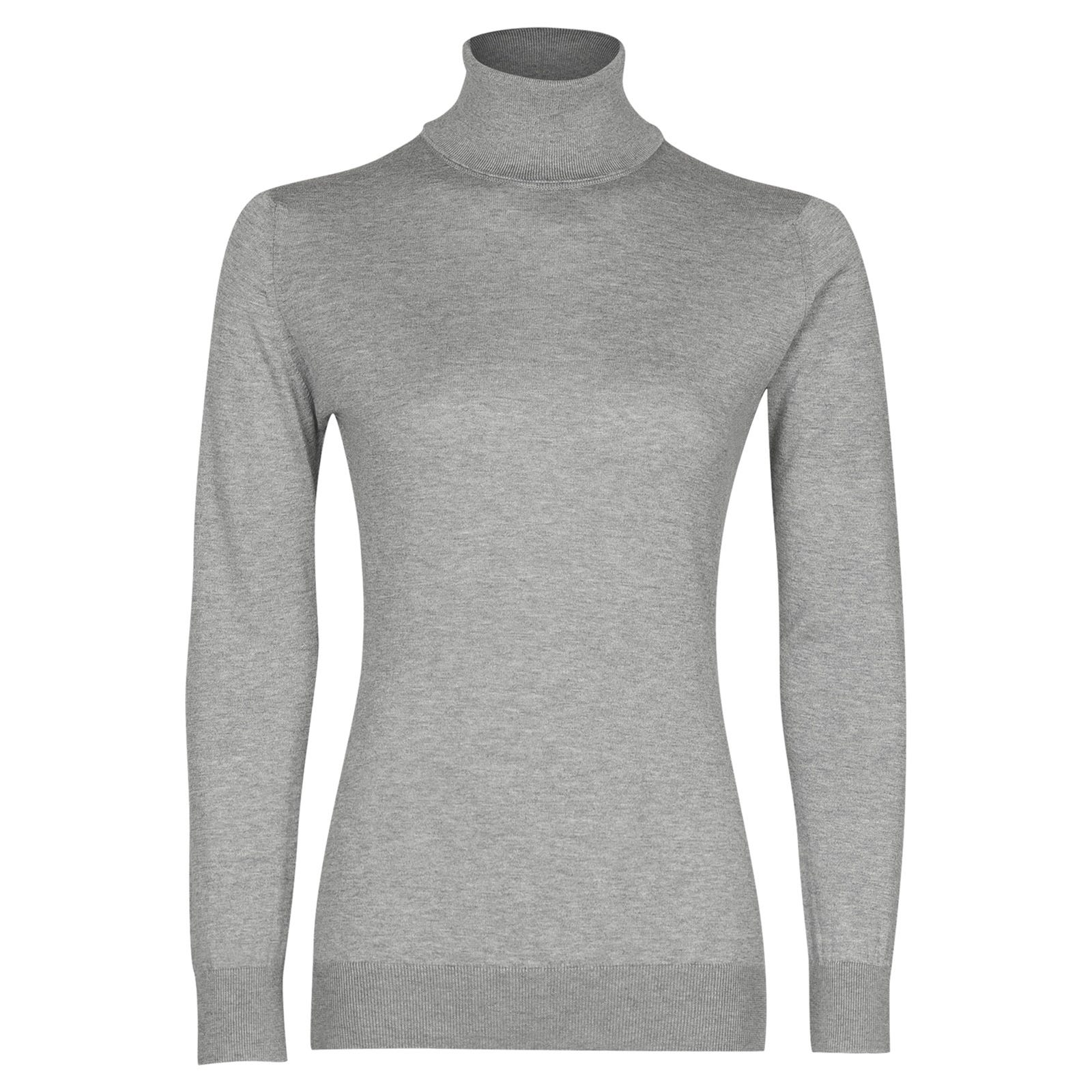 John Smedley pimlico Sea Island Cotton Sweater in Silver-M