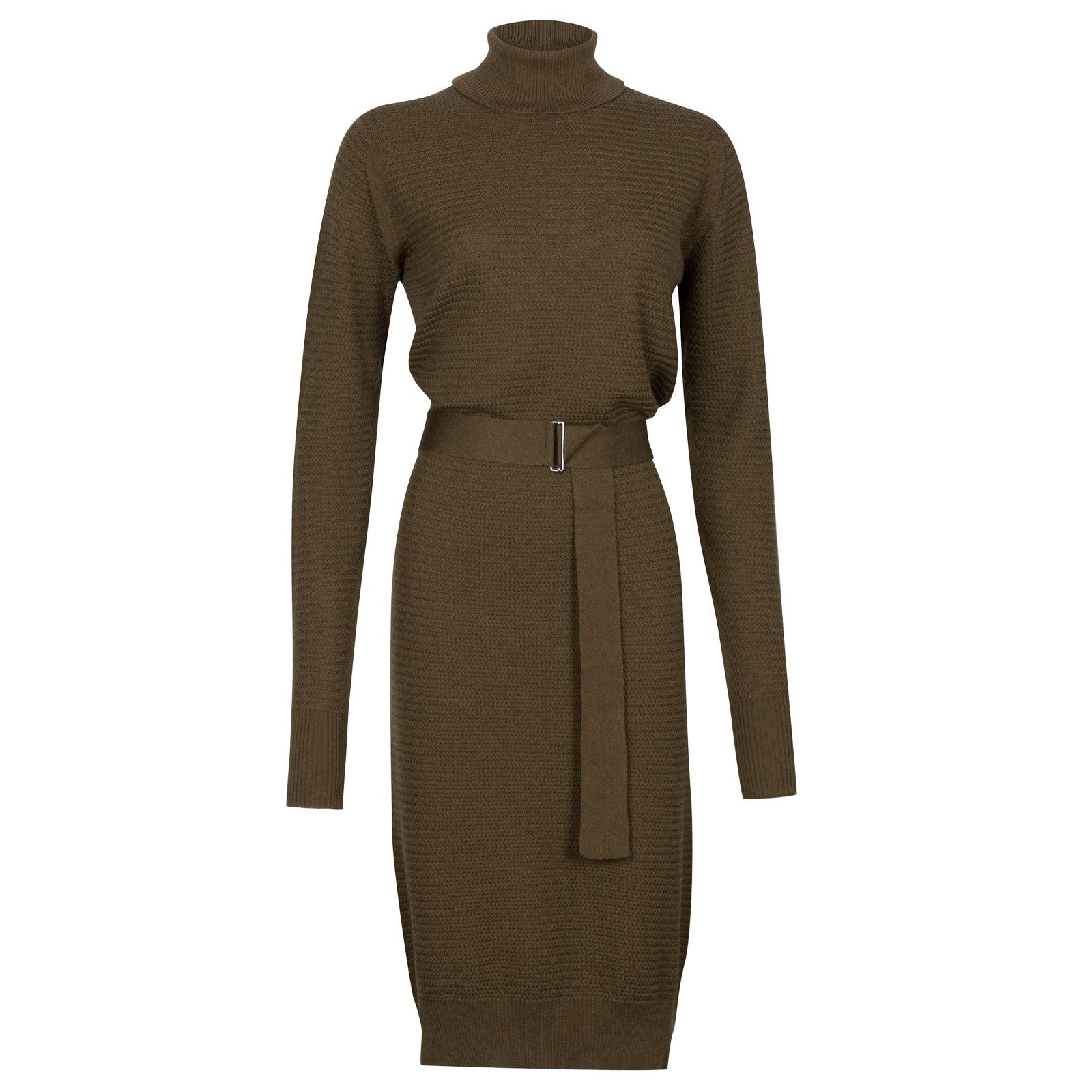 John Smedley poplar Merino Wool Dress in Kielder Green-S