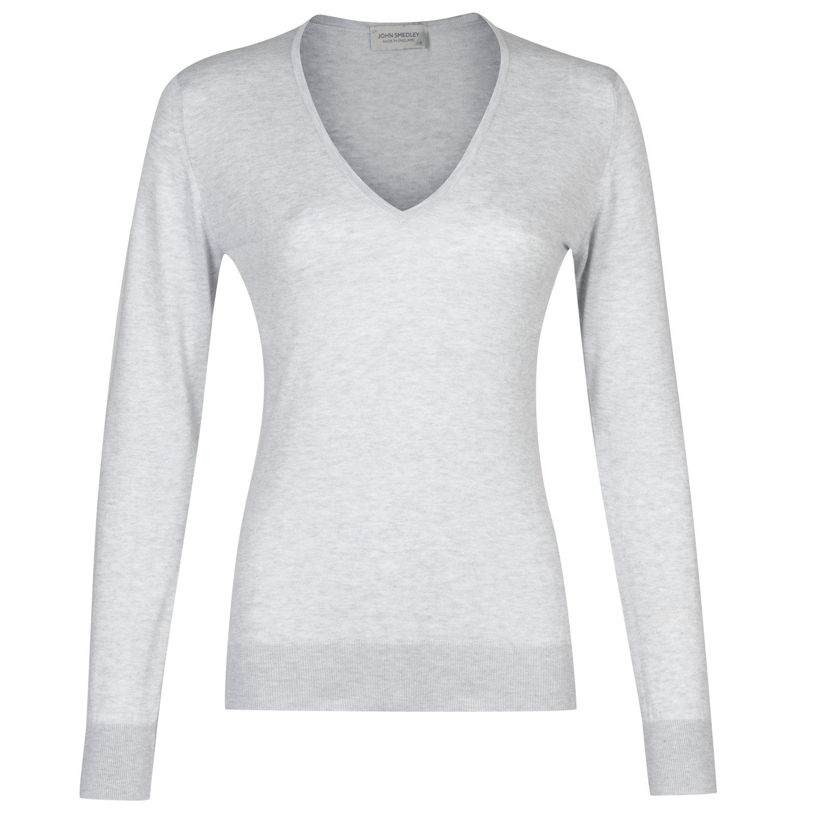John Smedley putney Sea Island Cotton Sweater in Feather Grey-M
